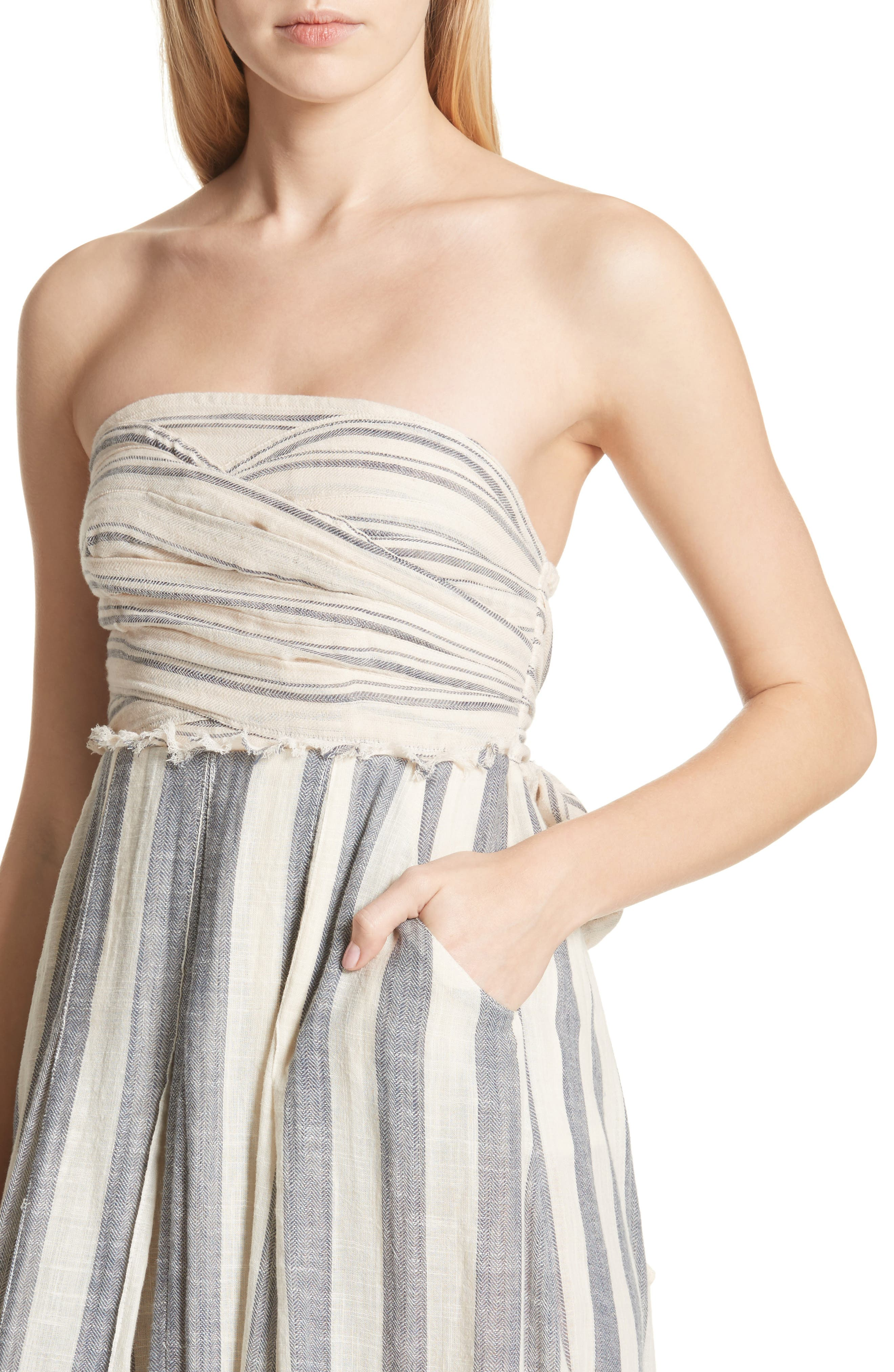 Stripe Me Up Strapless Midi Dress,                             Alternate thumbnail 4, color,                             400