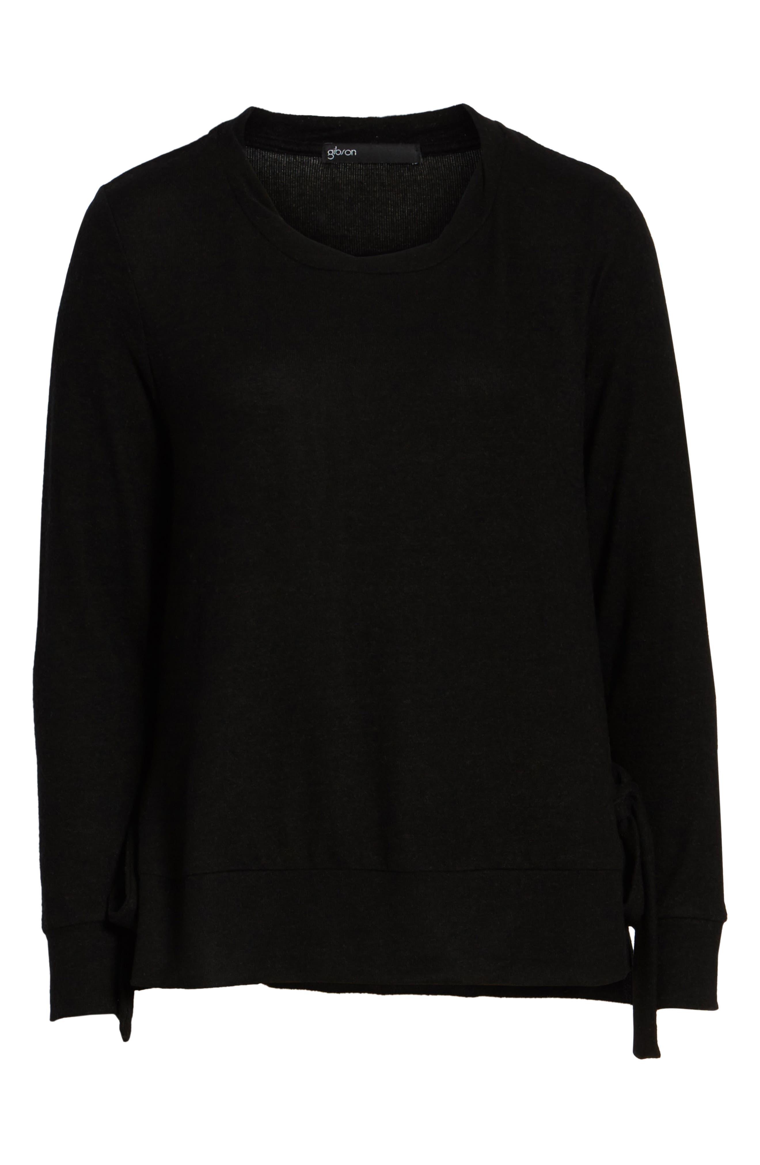Side-Tie Fleece Pullover,                             Alternate thumbnail 6, color,                             001