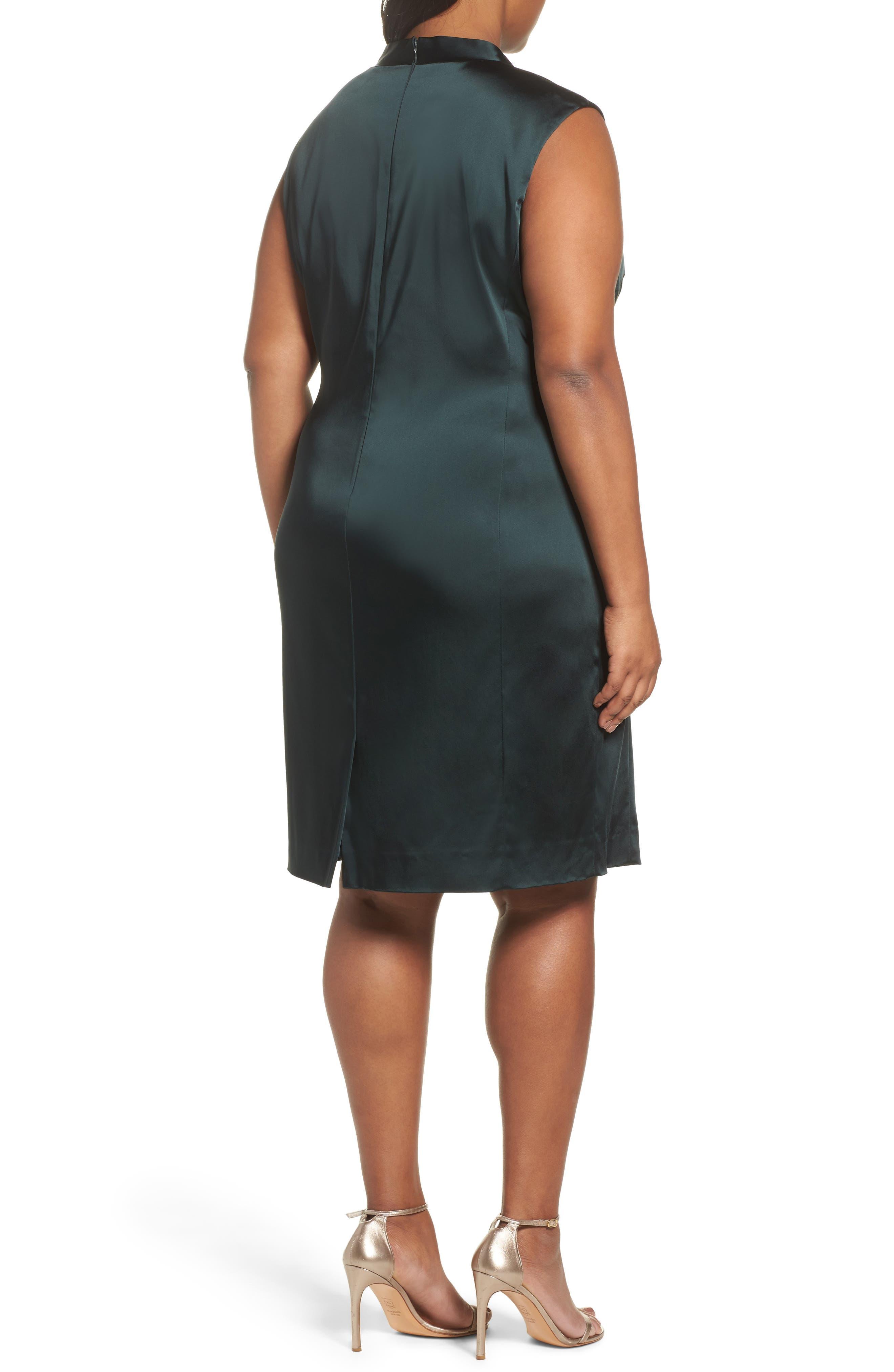 Side Pleat Satin Sheath Dress,                             Alternate thumbnail 2, color,                             384