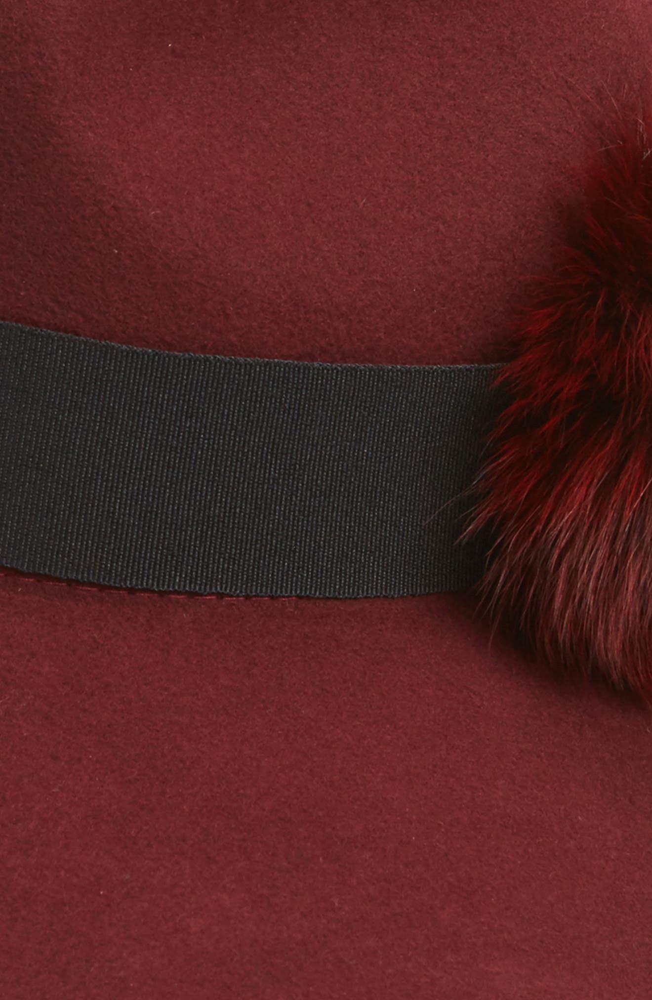 Paris Genuine Fox Fur Trim Fedora,                             Alternate thumbnail 4, color,