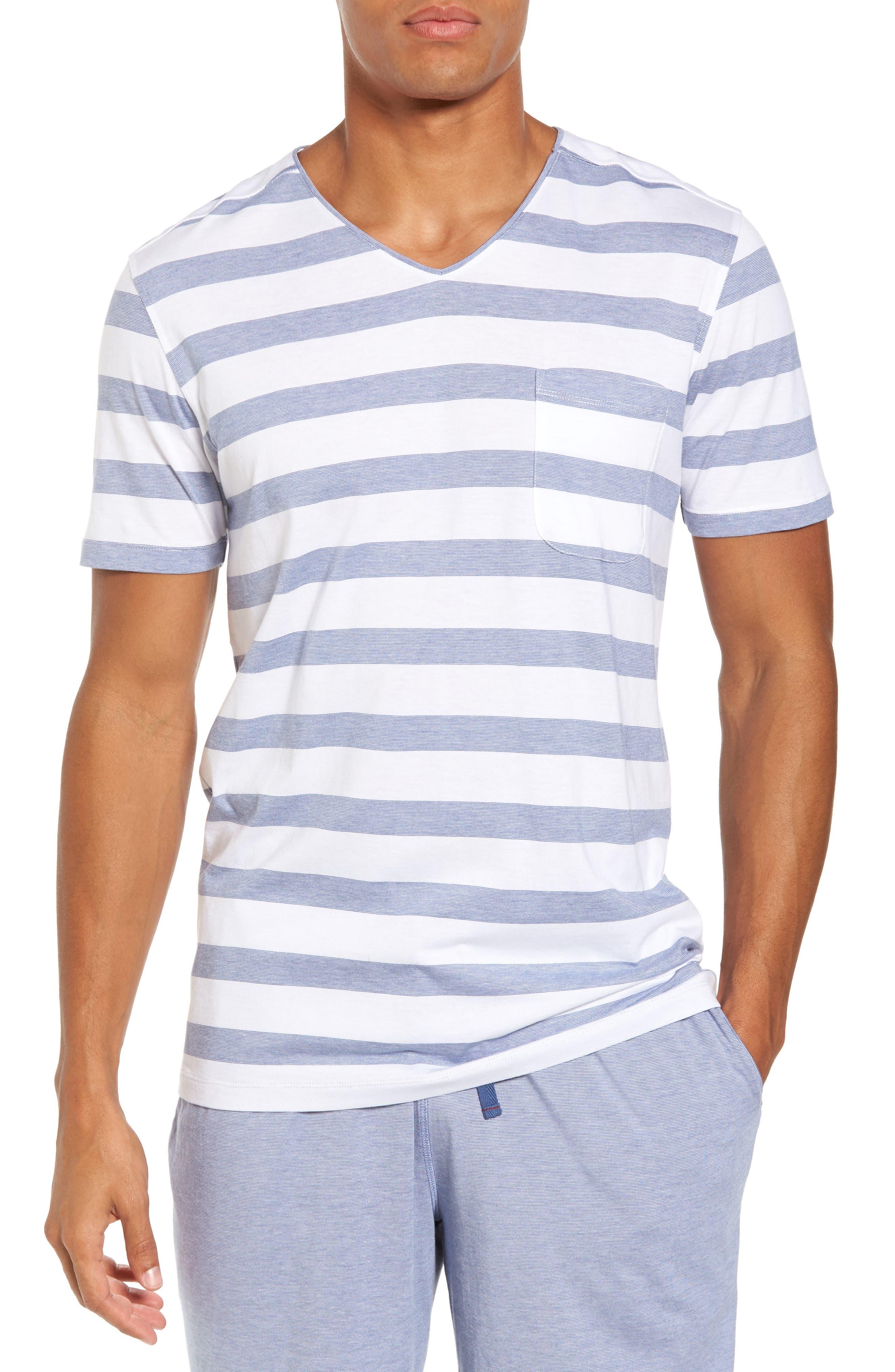 Stripe V-Neck Pima Cotton & Modal T-Shirt,                         Main,                         color, 001