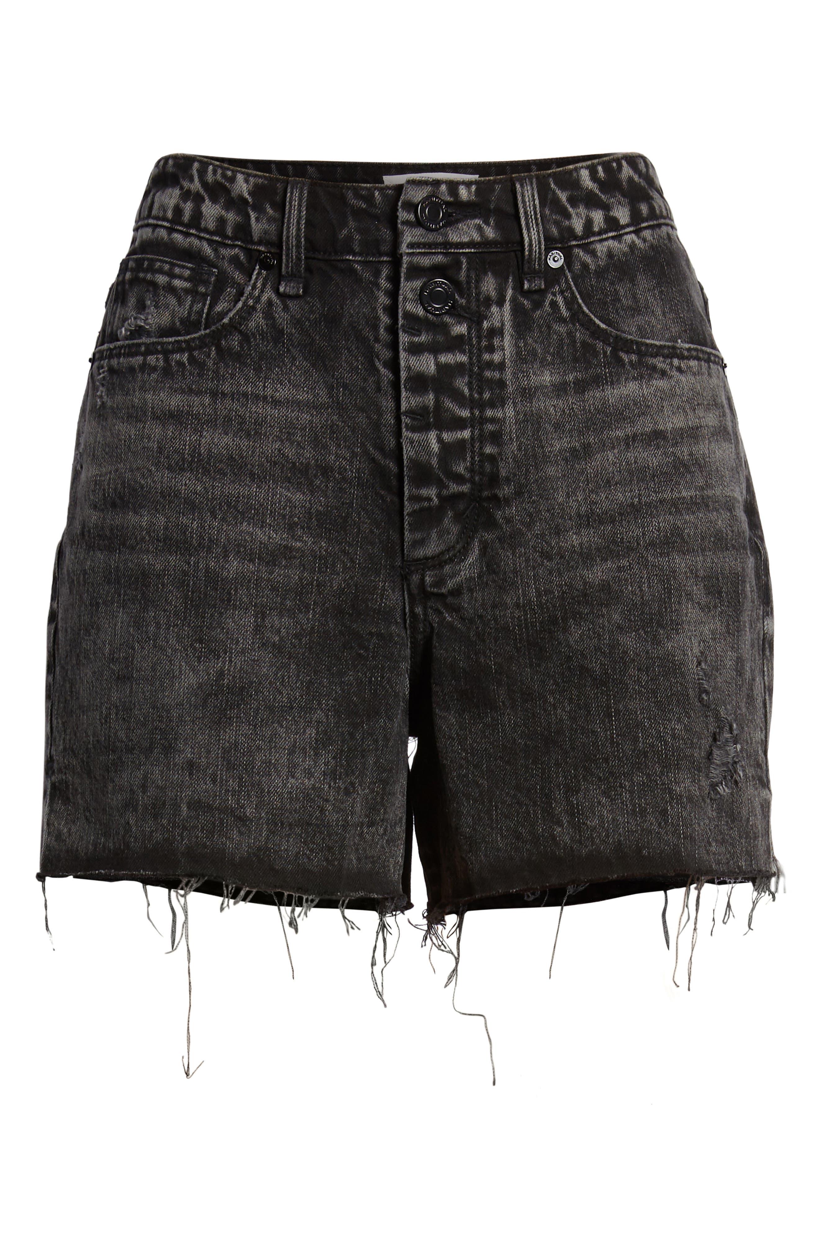 Maddie High Rise Raw Edge Denim Shorts,                             Alternate thumbnail 6, color,                             022