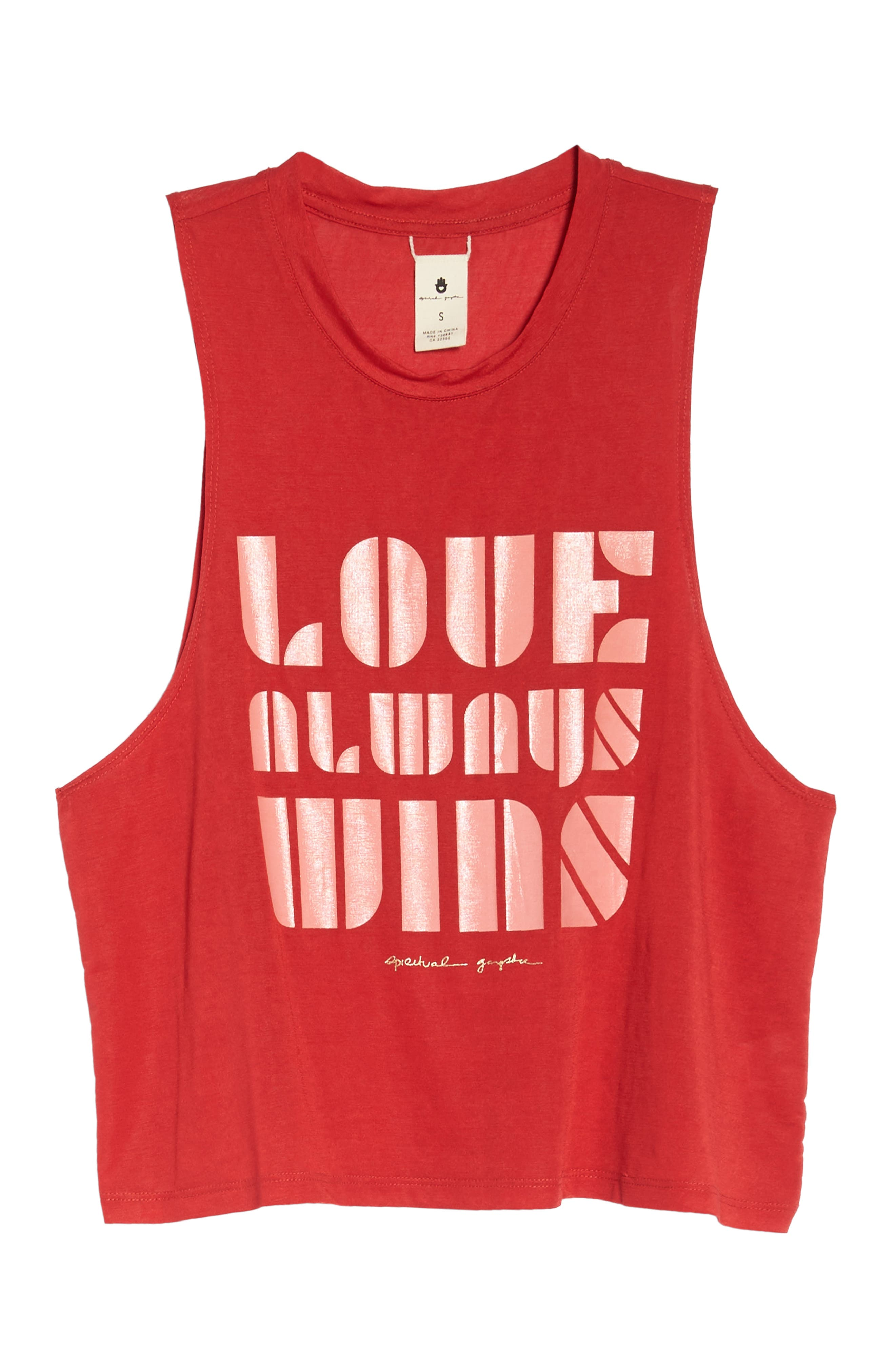 Spritual Gangster Love Always Wins Crop Tank,                             Alternate thumbnail 7, color,                             LOVE RED