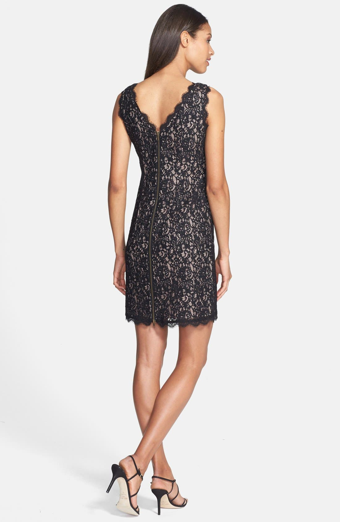 Boatneck Lace Sheath Dress,                             Alternate thumbnail 8, color,                             015