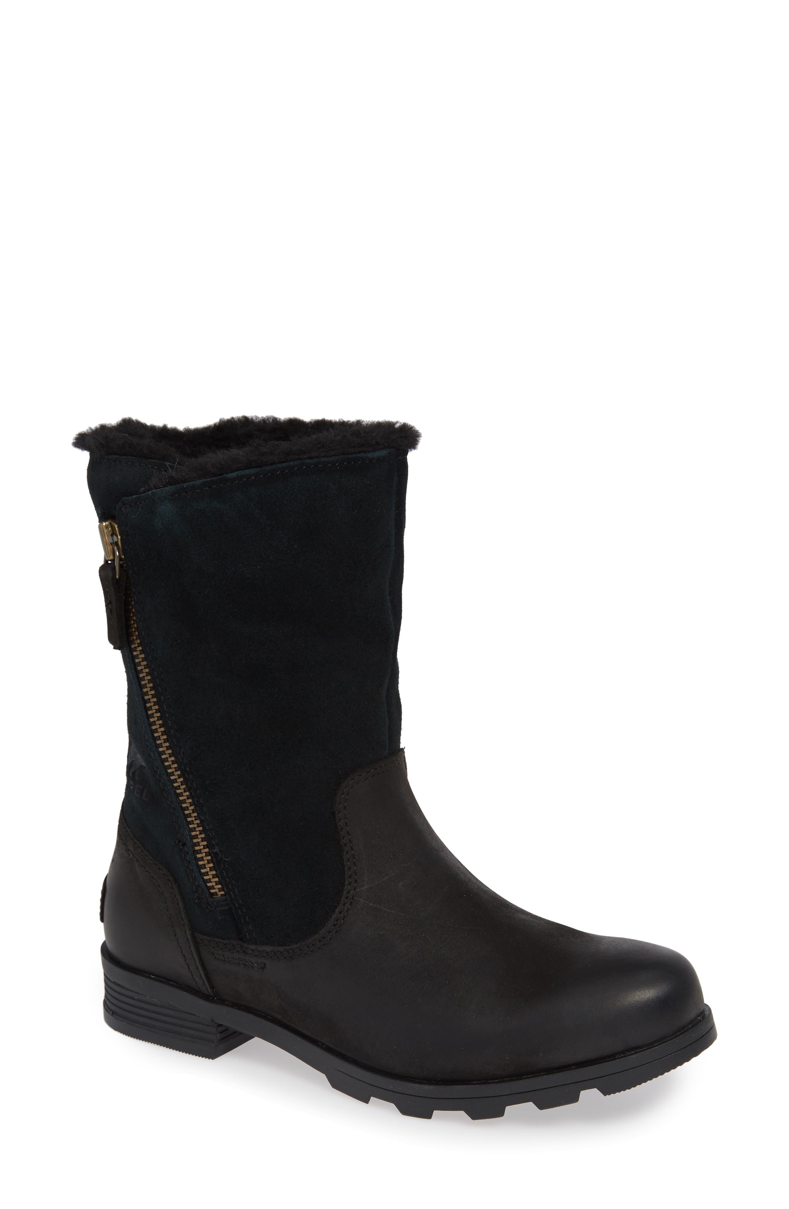 Emelie Waterproof Faux Fur Lined Boot,                             Main thumbnail 1, color,                             BLACK