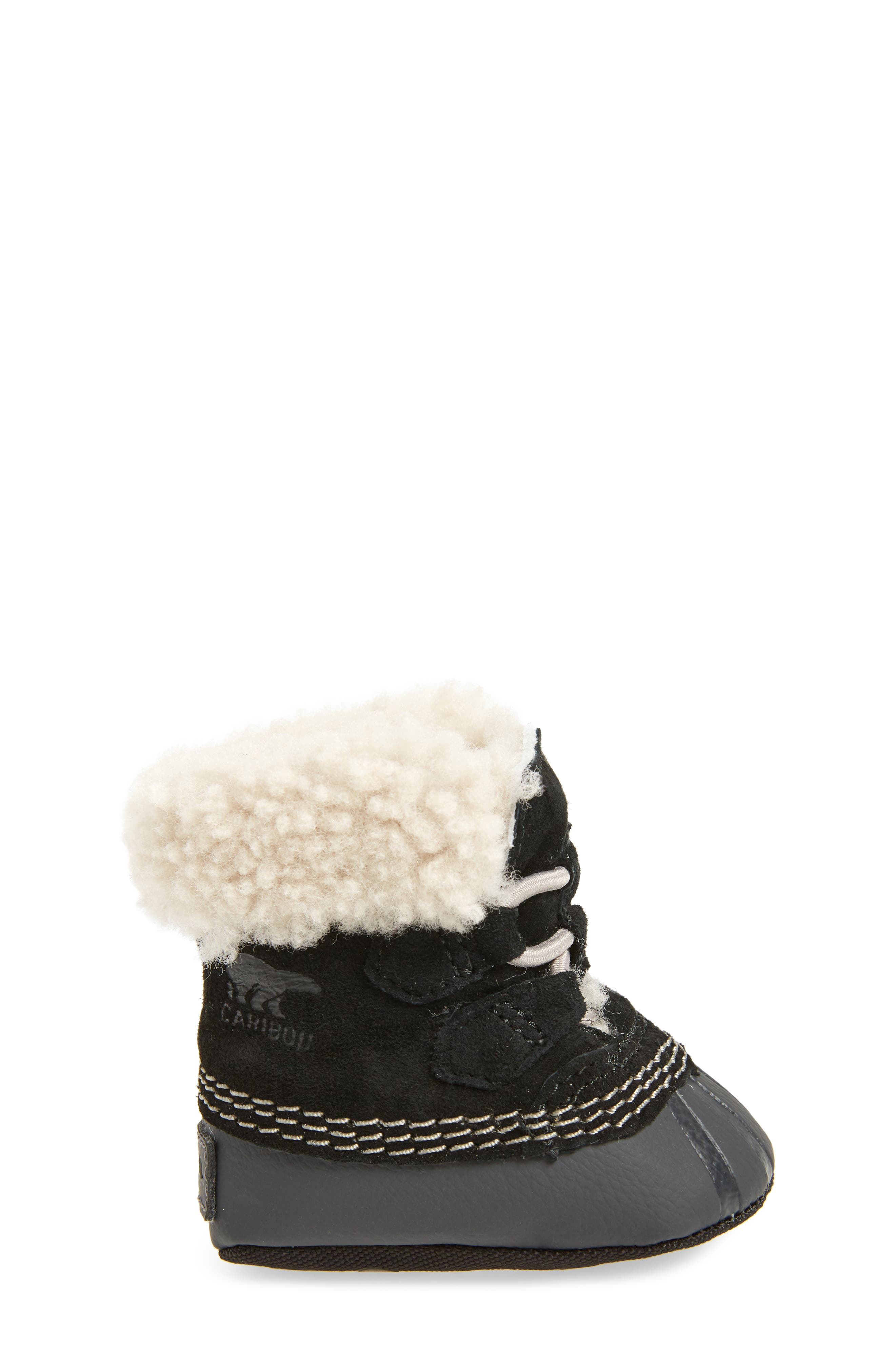 Caribootie Genuine Shearling Crib Shoe,                             Alternate thumbnail 3, color,                             001