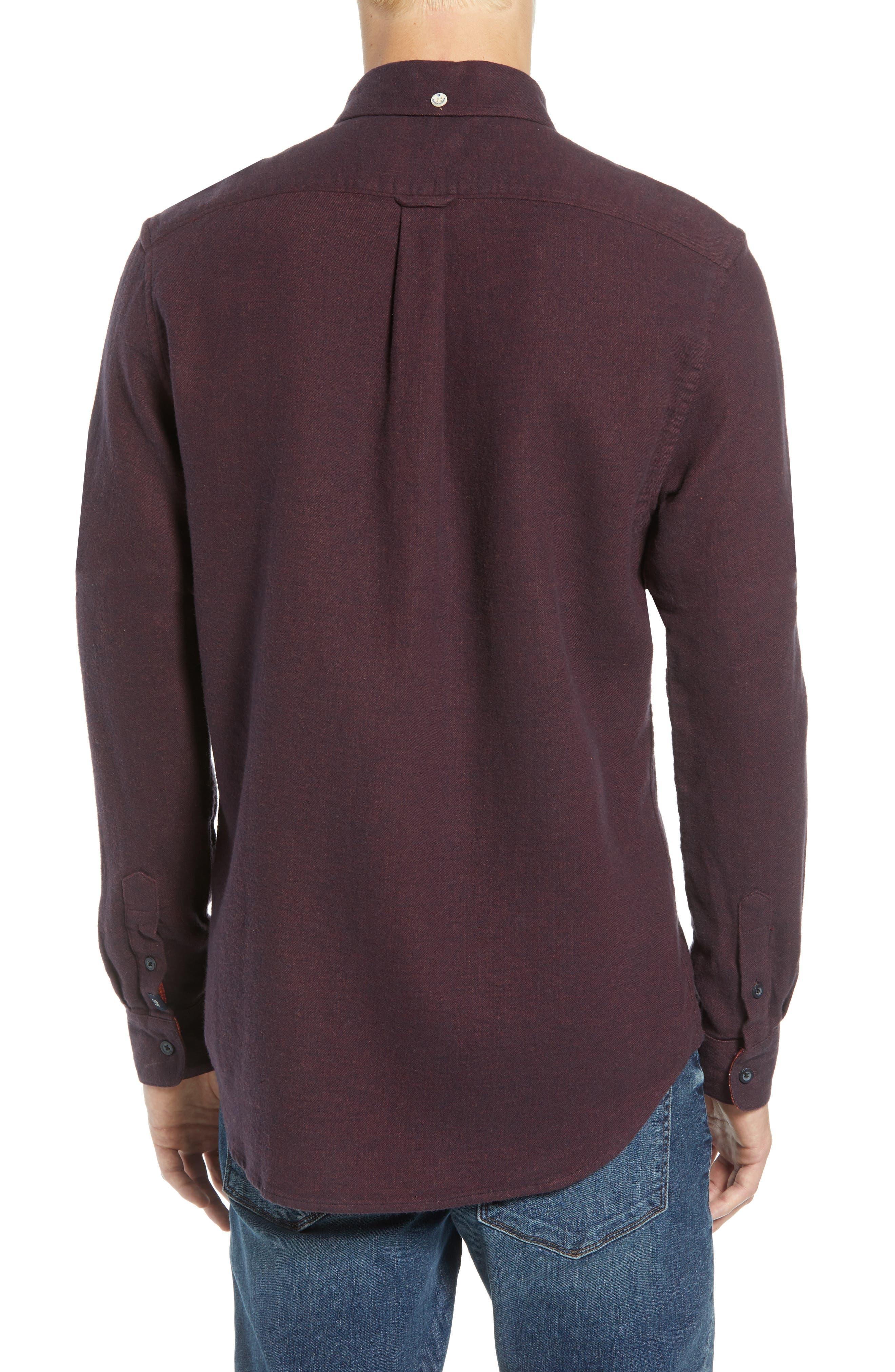 Regular Fit Button Down Sport Shirt,                             Alternate thumbnail 3, color,                             DEEP PURPLE MELANGE