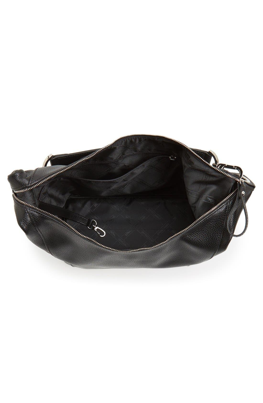 'Le Foulonne' Leather Hobo Bag,                             Alternate thumbnail 4, color,                             BLACK