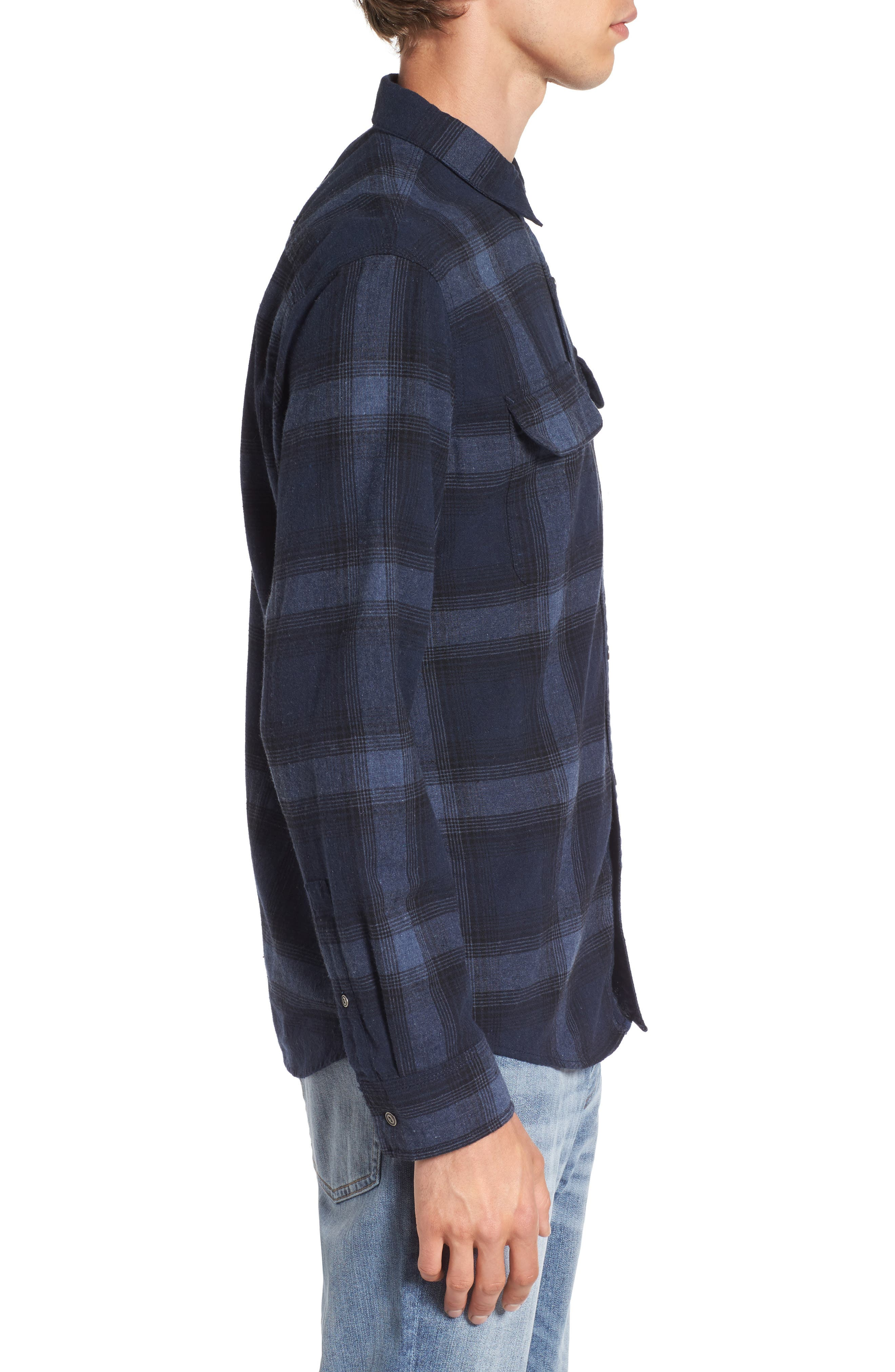 Owen Plaid Flannel Sport Shirt,                             Alternate thumbnail 3, color,                             410