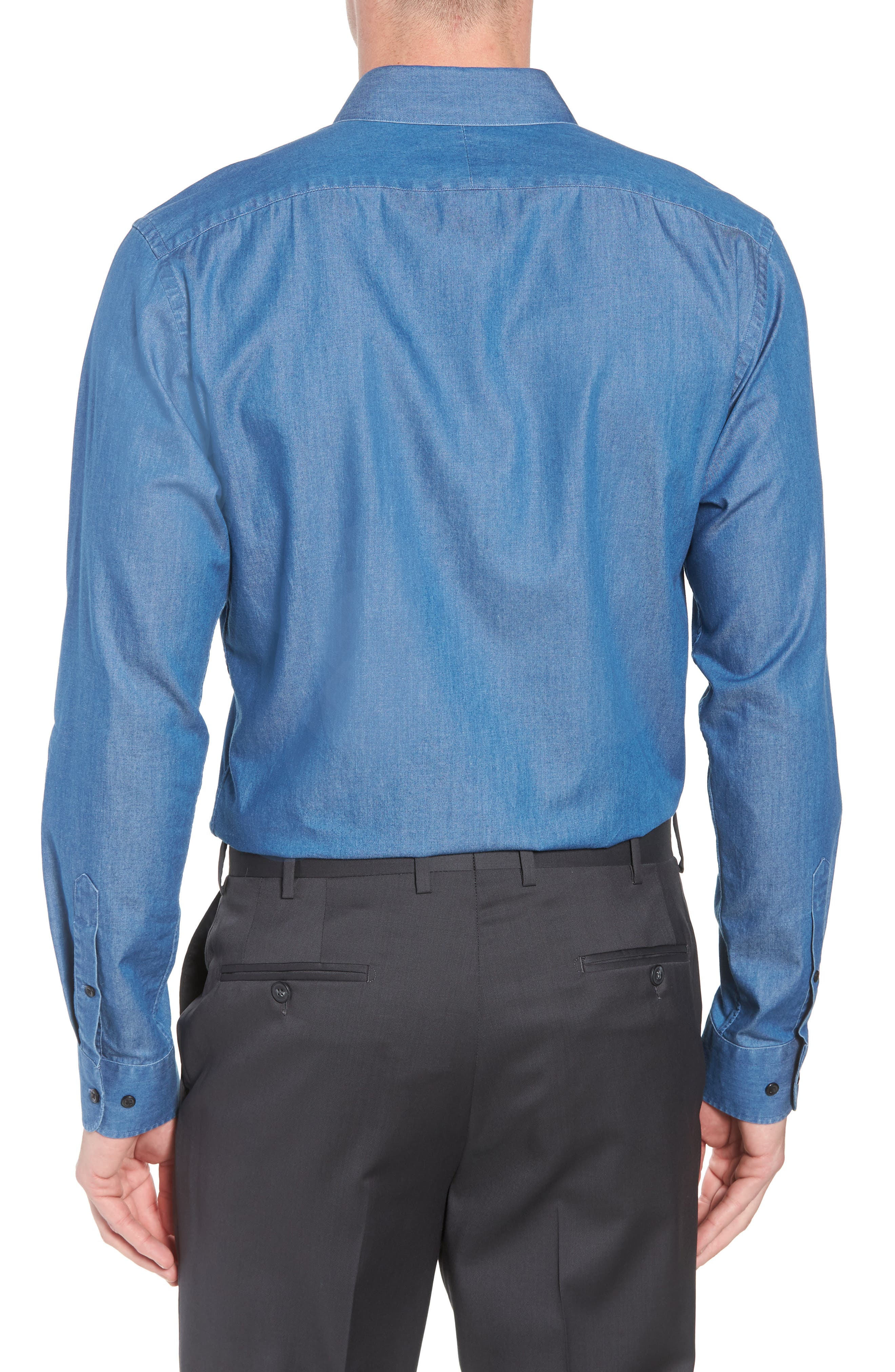 Trim Fit Solid Denim Dress Shirt,                             Alternate thumbnail 3, color,                             BLUE DENIM