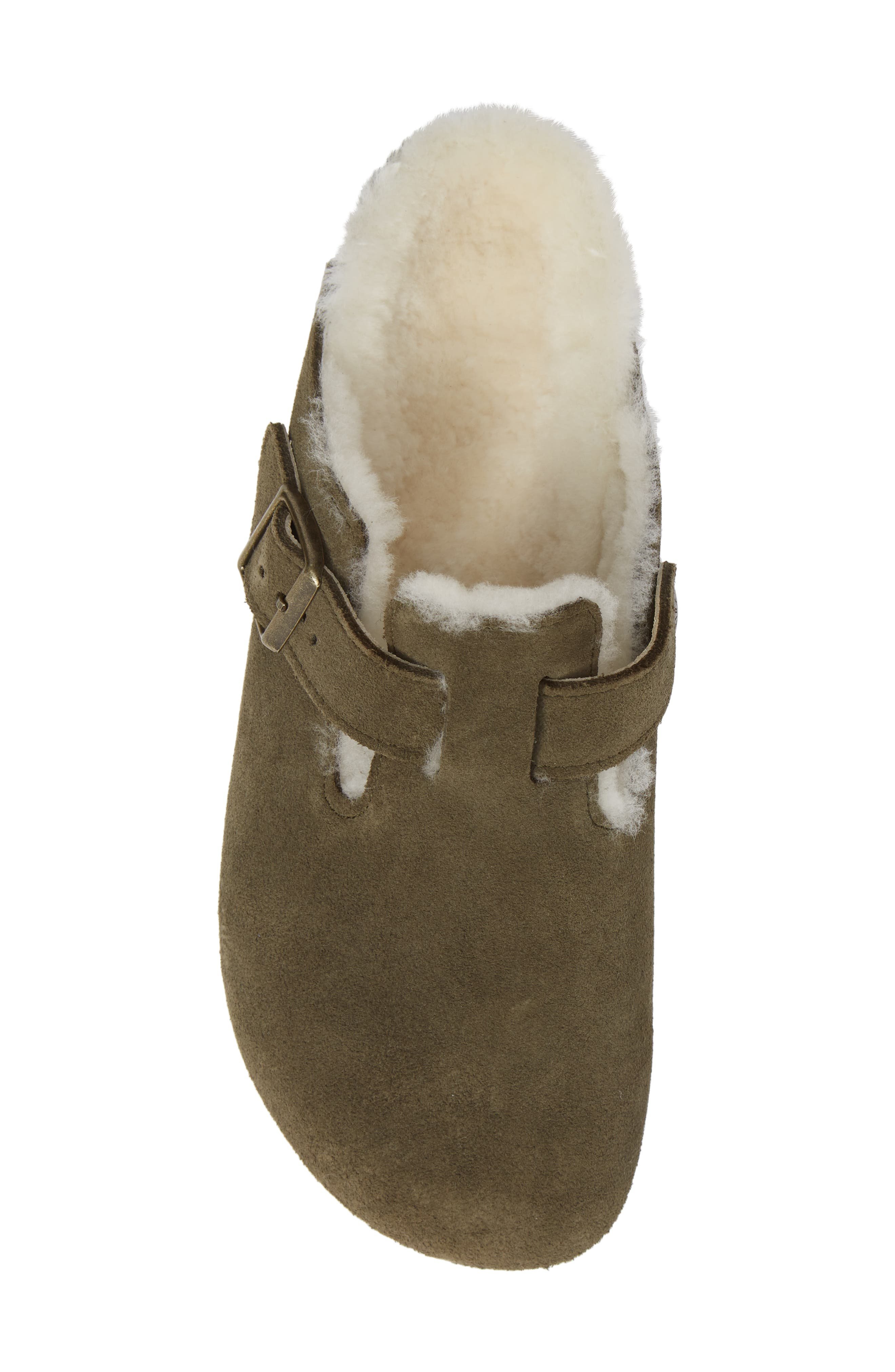 'Boston' Genuine Shearling Lined Clog,                             Alternate thumbnail 5, color,                             FOREST/ NATURAL SUEDE
