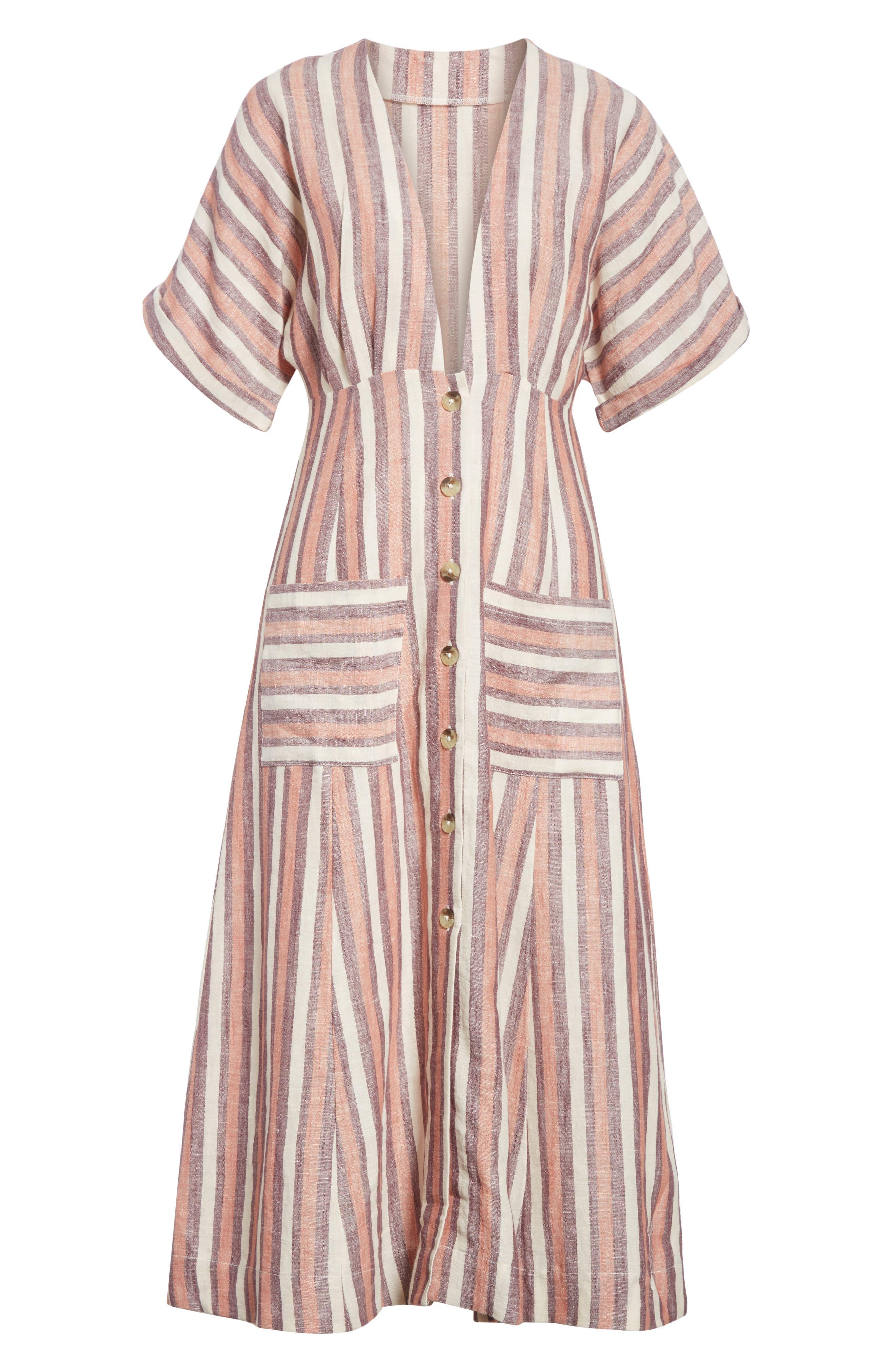 Monday Stripe Linen Blend Midi Dress,                             Alternate thumbnail 14, color,