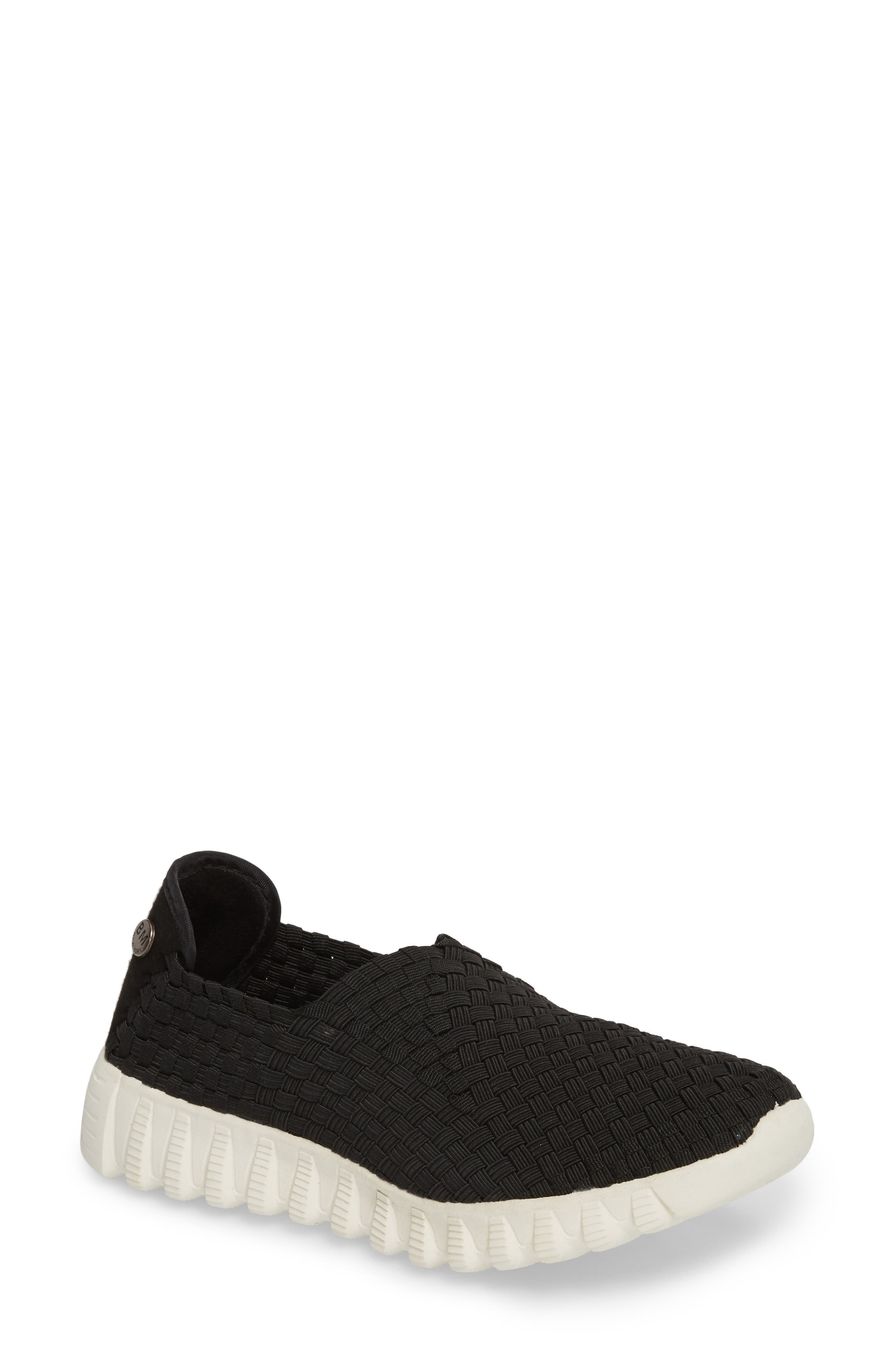 Woven Slip-On Sneaker,                         Main,                         color, BLACK