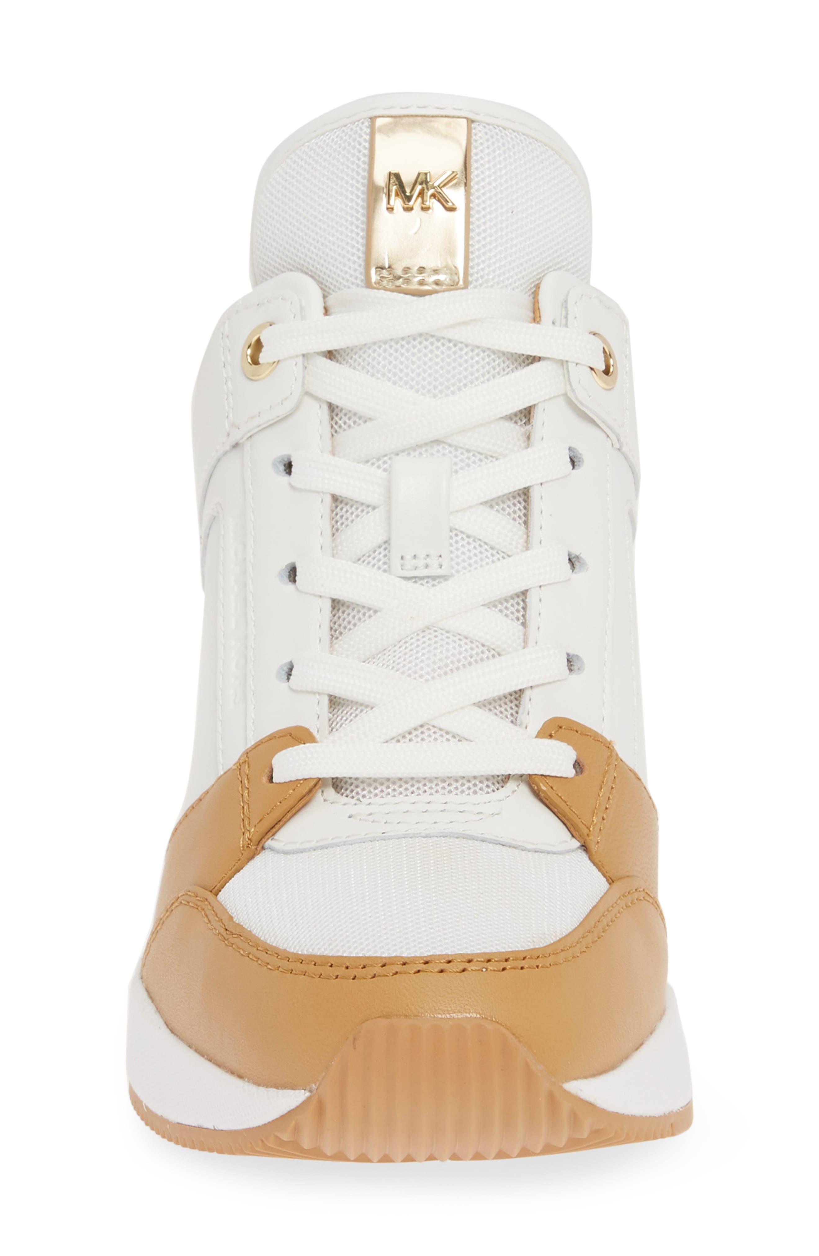 MICHAEL MICHAEL KORS,                             Georgie Wedge Sneaker,                             Alternate thumbnail 4, color,                             OPTIC WHITE MULTI