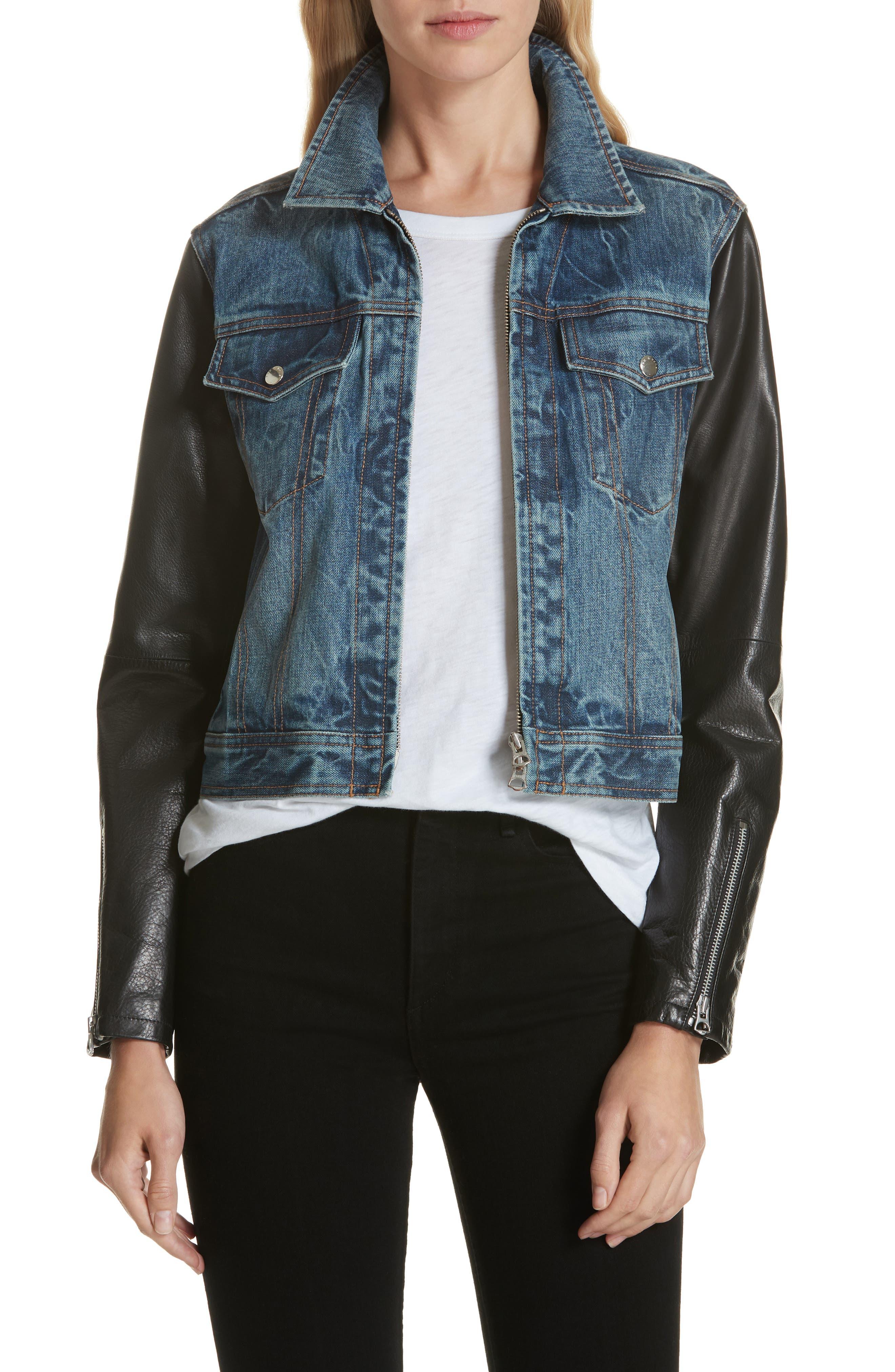 Zip Nico Denim & Leather Jacket,                             Main thumbnail 1, color,                             INDIGO