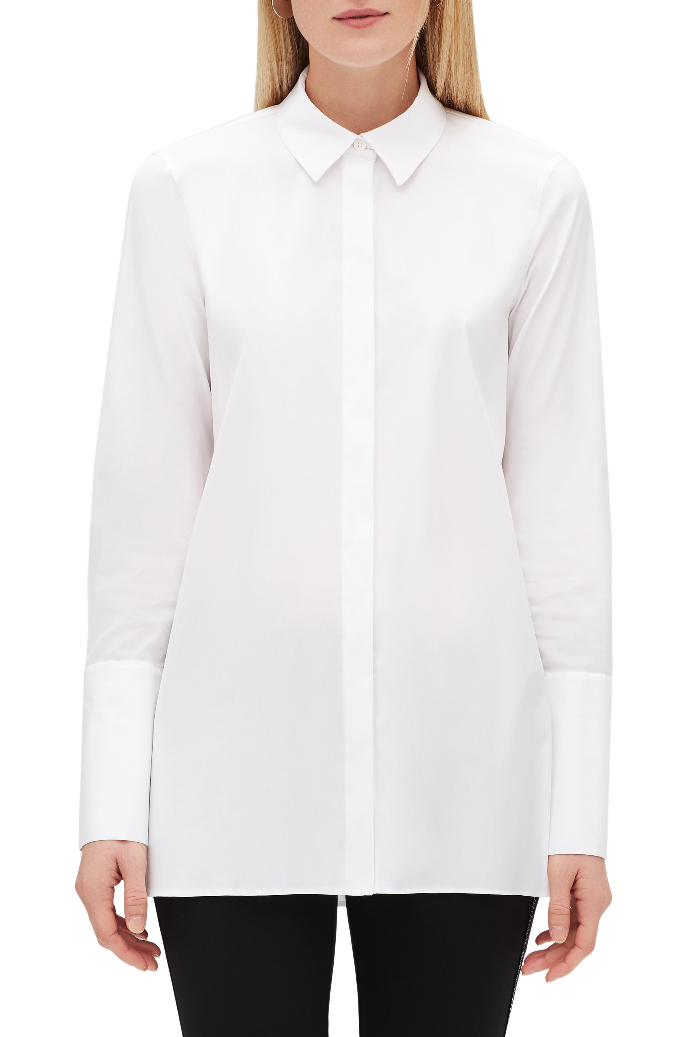 Porto Button-Front Blouse With Chain-Trim Collar in White