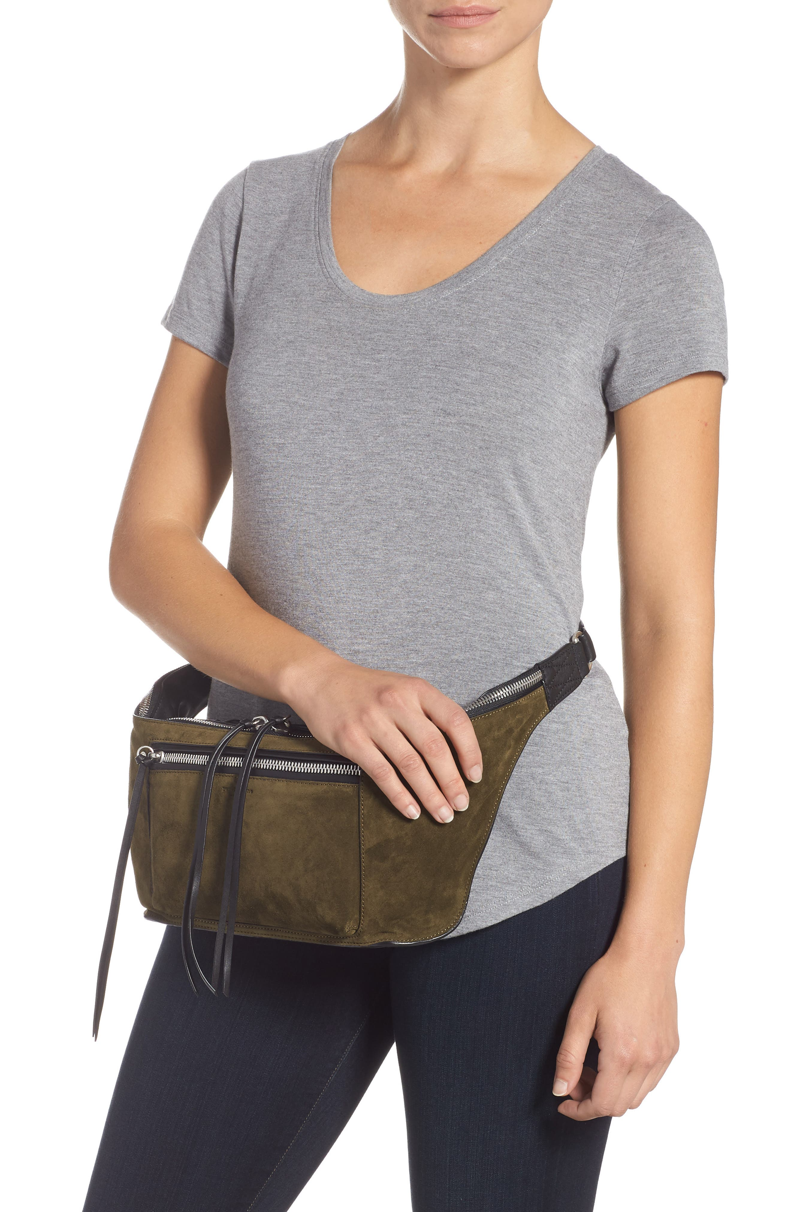Large Elliot Genuine Calf Hair Fanny Pack,                             Alternate thumbnail 2, color,                             OLIVE SUEDE