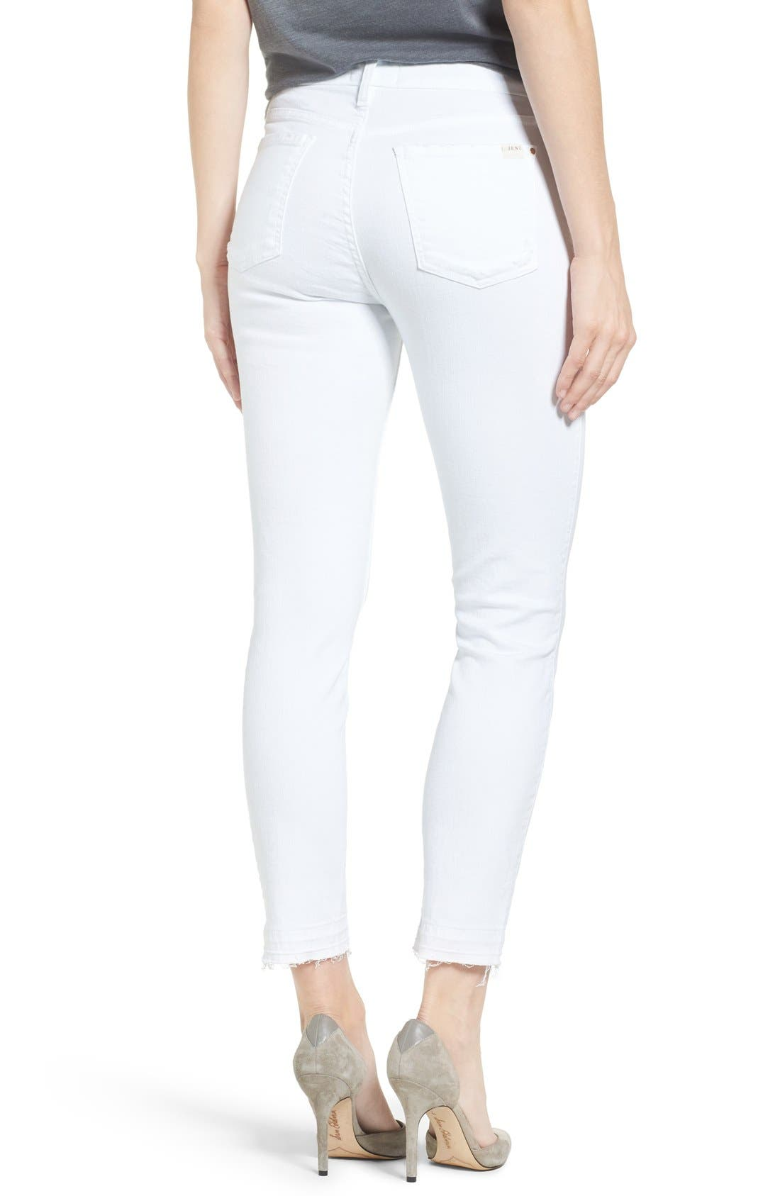Release Hem Stretch Skinny Ankle Jeans,                             Alternate thumbnail 2, color,                             WHITE DENIM