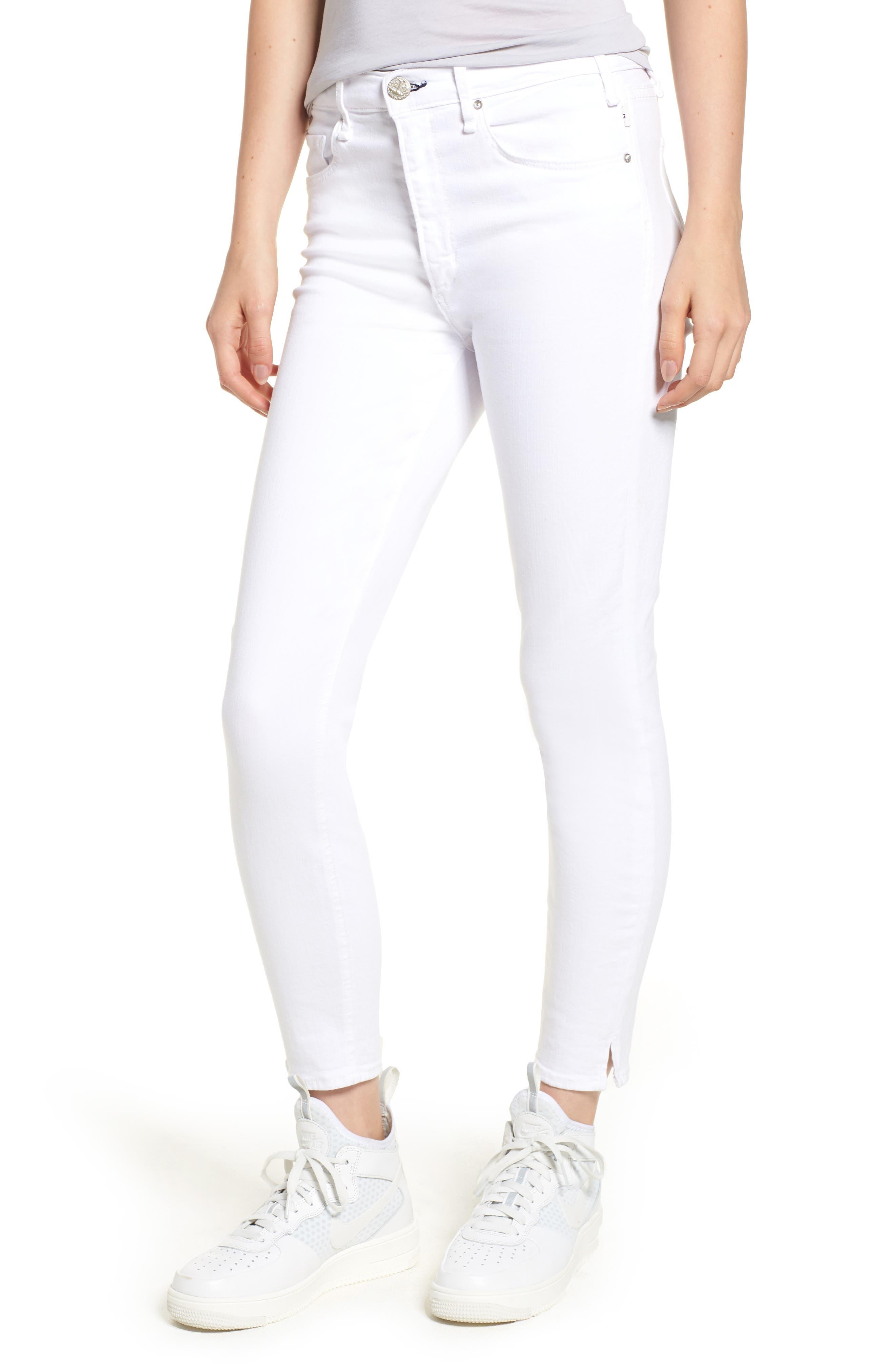 Split Hem High Waist Ankle Skinny Jeans,                         Main,                         color, 100