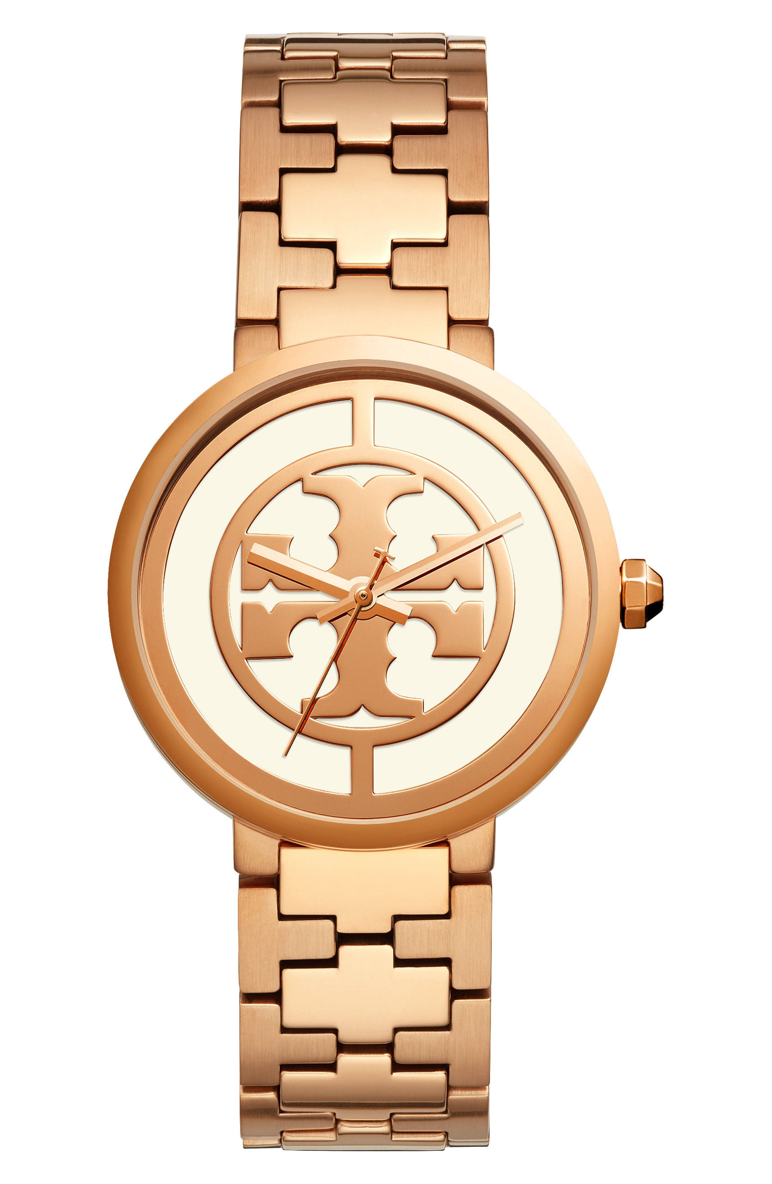 Reva Logo Dial Bracelet Watch, 36mm,                             Main thumbnail 1, color,                             ROSE GOLD/ CREAM/ ROSE GOLD