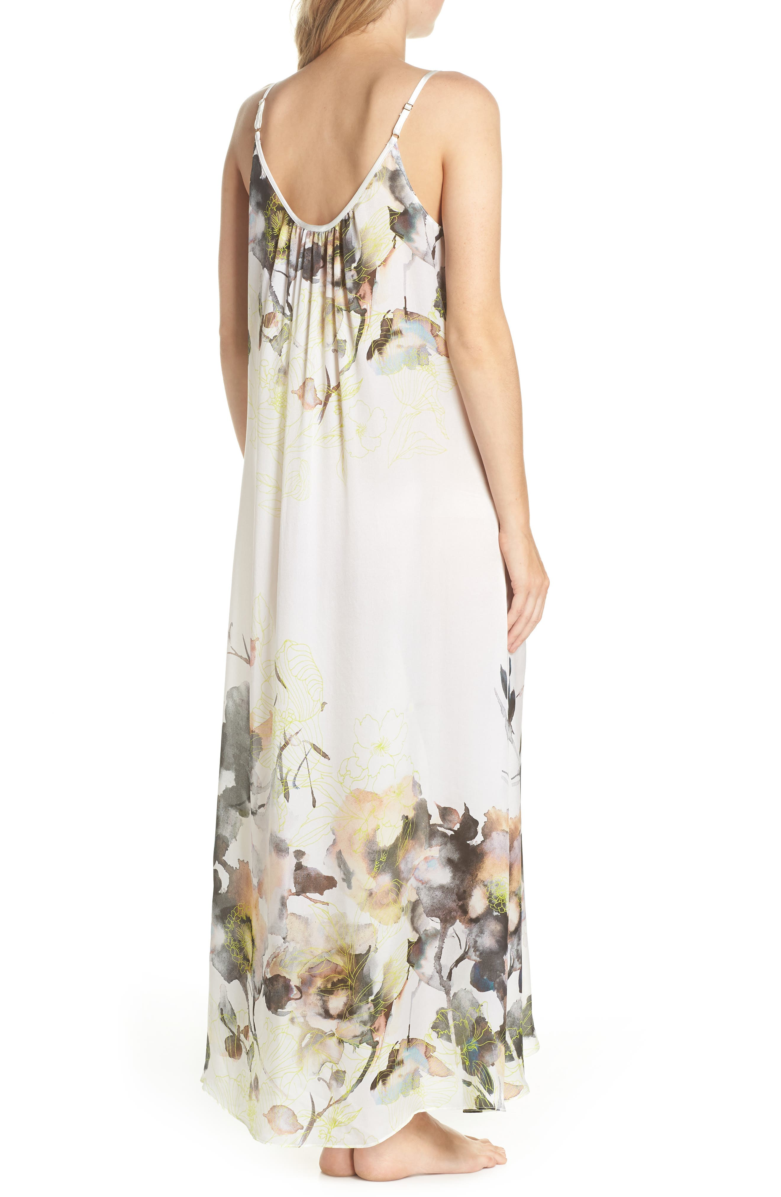 Floral Print Silk Nightgown,                             Alternate thumbnail 2, color,                             900
