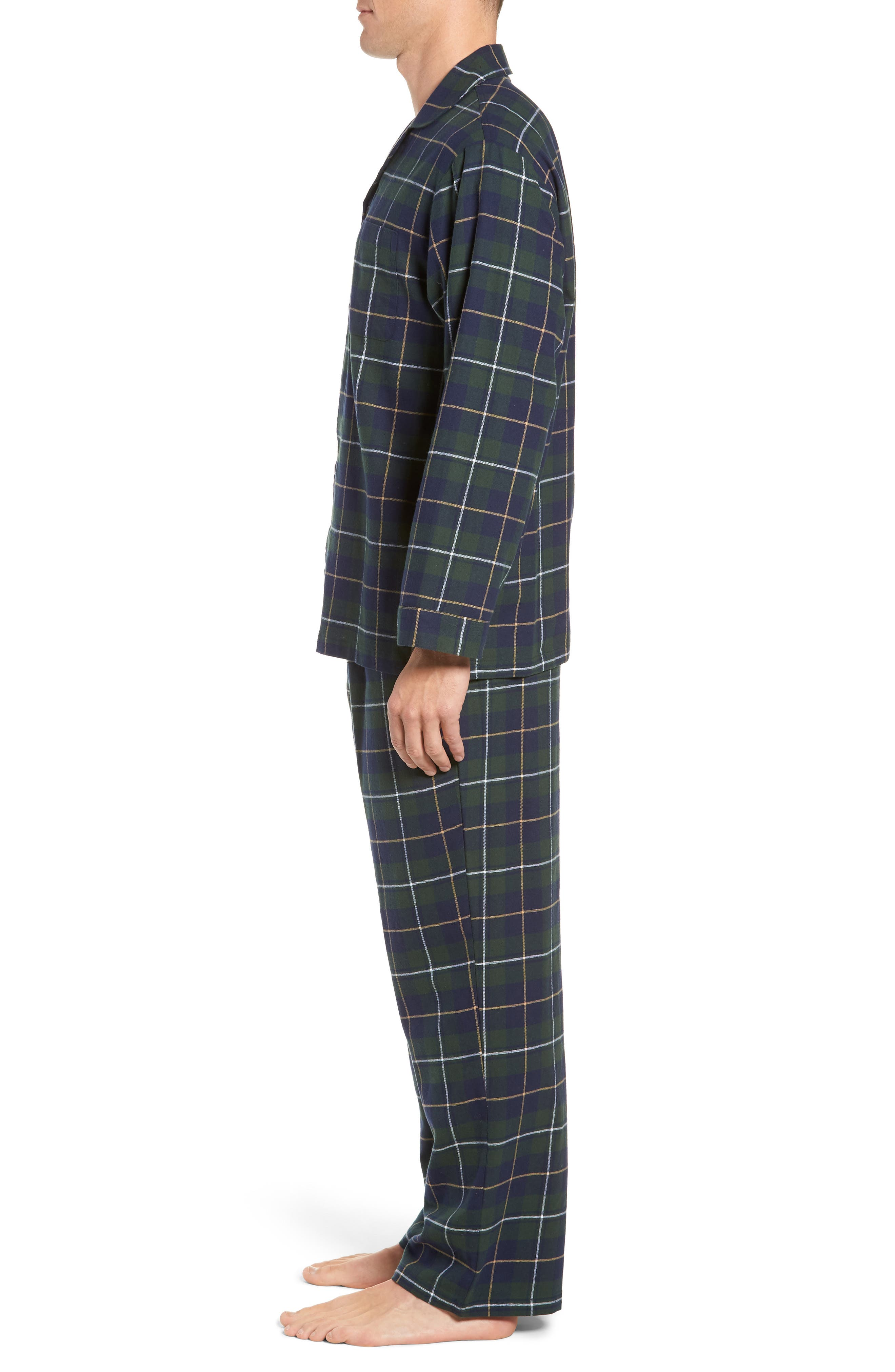 '824' Flannel Pajama Set,                             Alternate thumbnail 3, color,                             GREEN CHARCOAL FADED PLAID