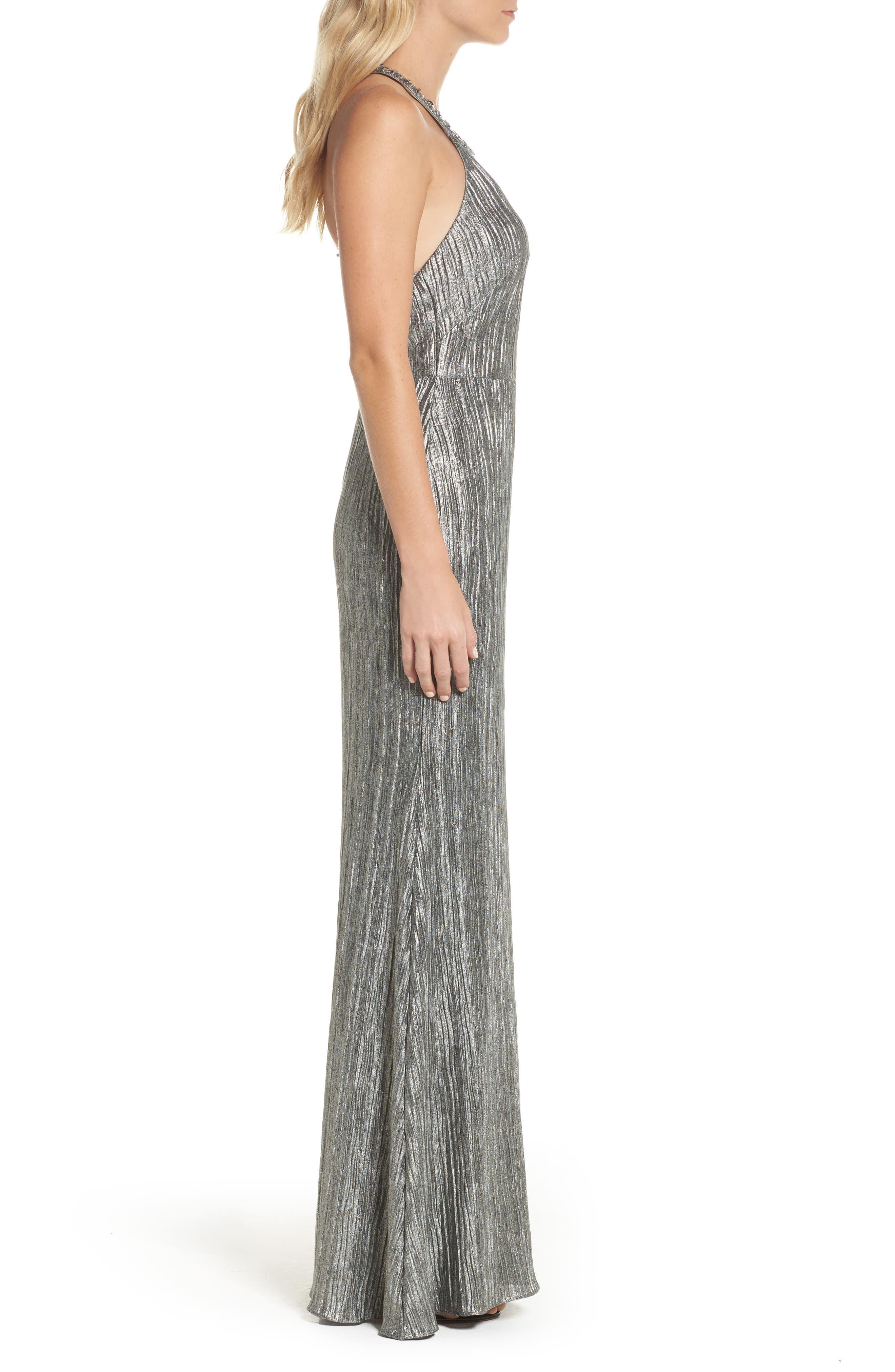 Embellished Crinkle Jersey Halter Gown,                             Alternate thumbnail 3, color,
