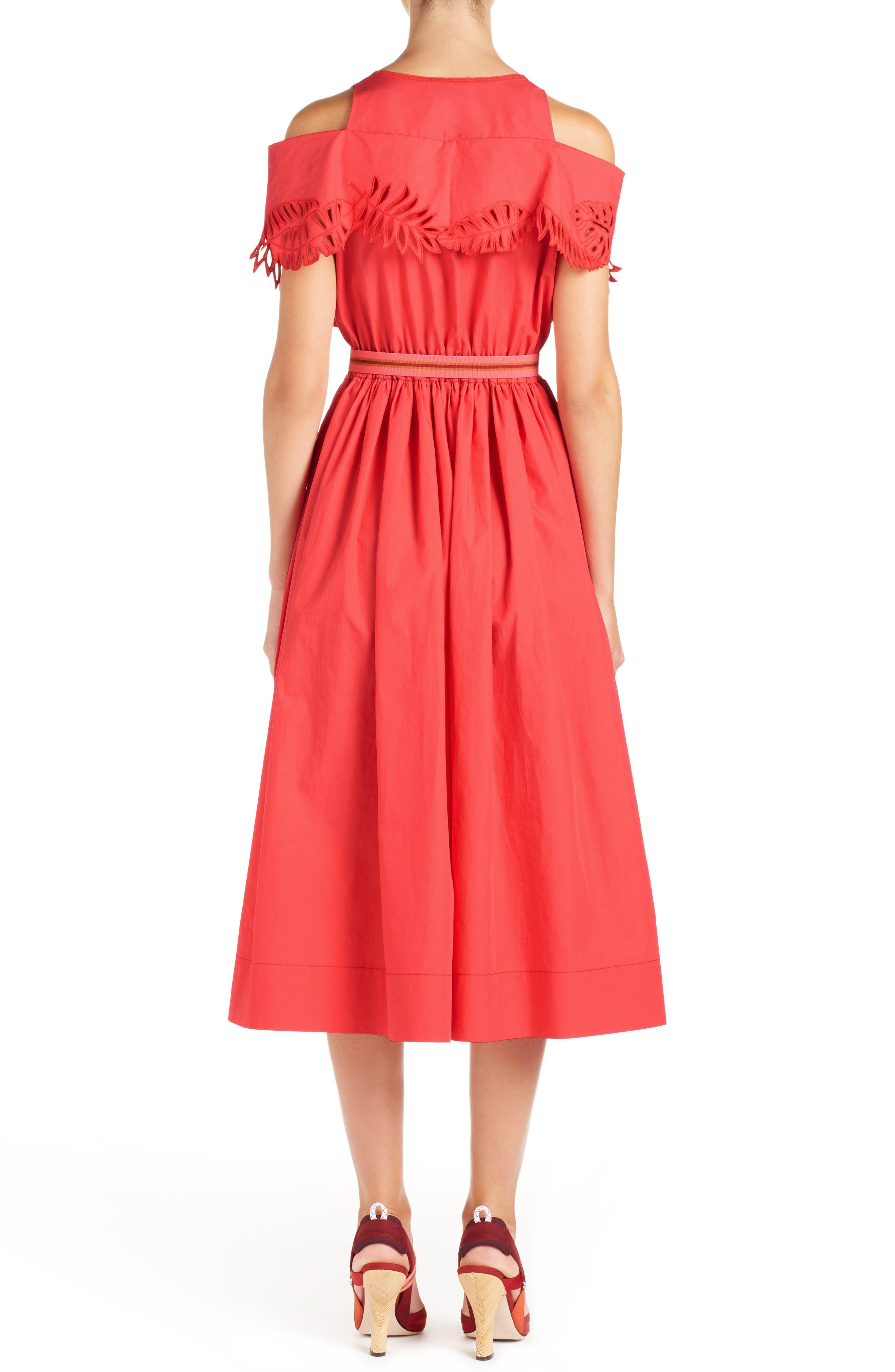 Cold Shoulder Taffeta Midi Dress,                             Alternate thumbnail 2, color,                             616