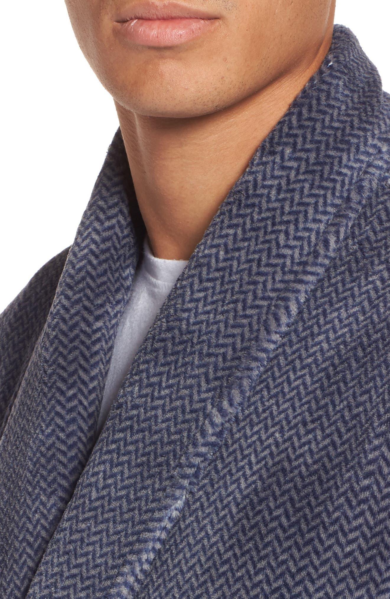 Herringbone Fleece Robe,                             Alternate thumbnail 4, color,                             NAVY INDIGO- GREY HERRINGBONE