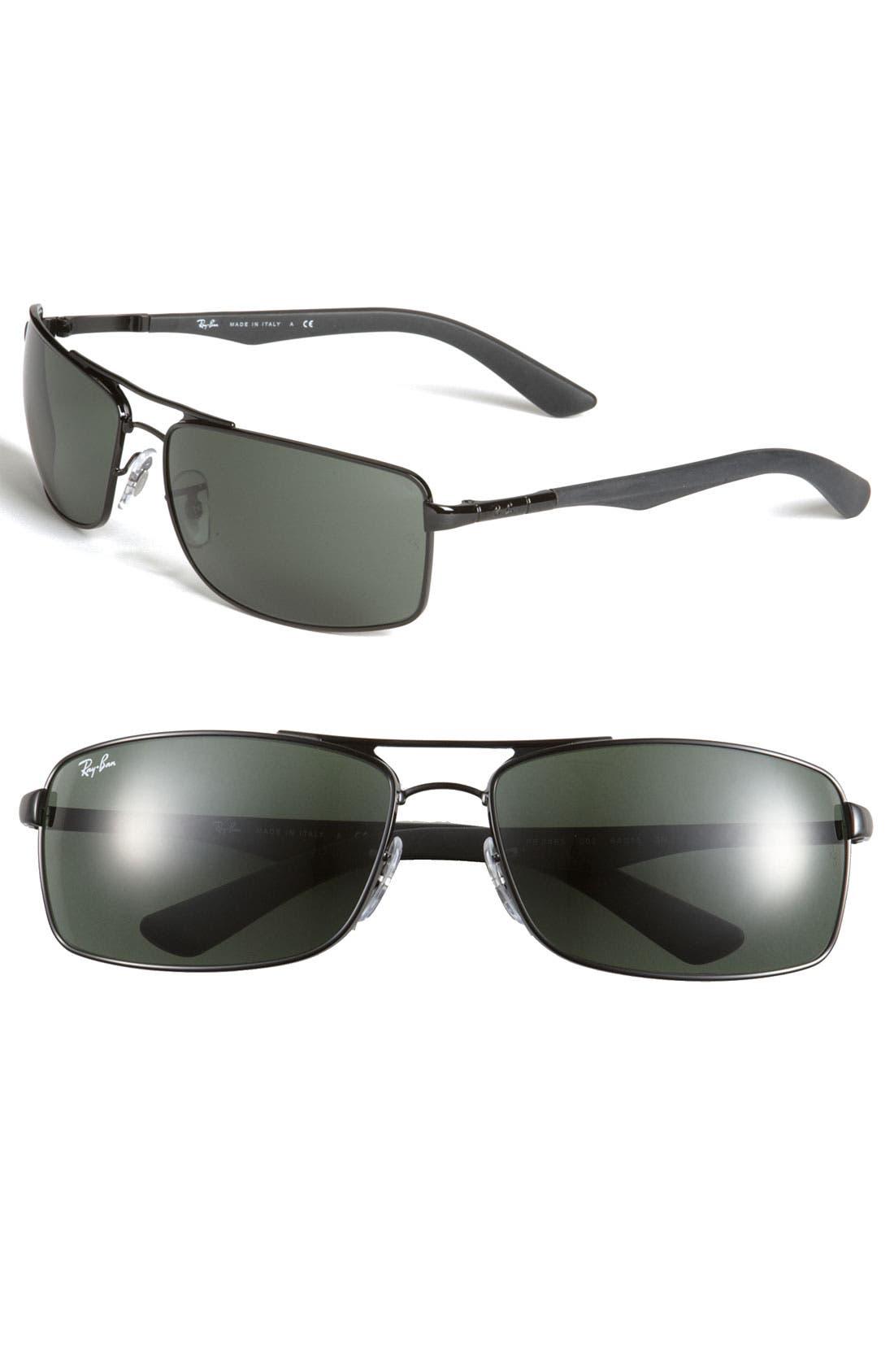 Double Bridge 64mm Rectangular Sunglasses,                         Main,                         color, 001