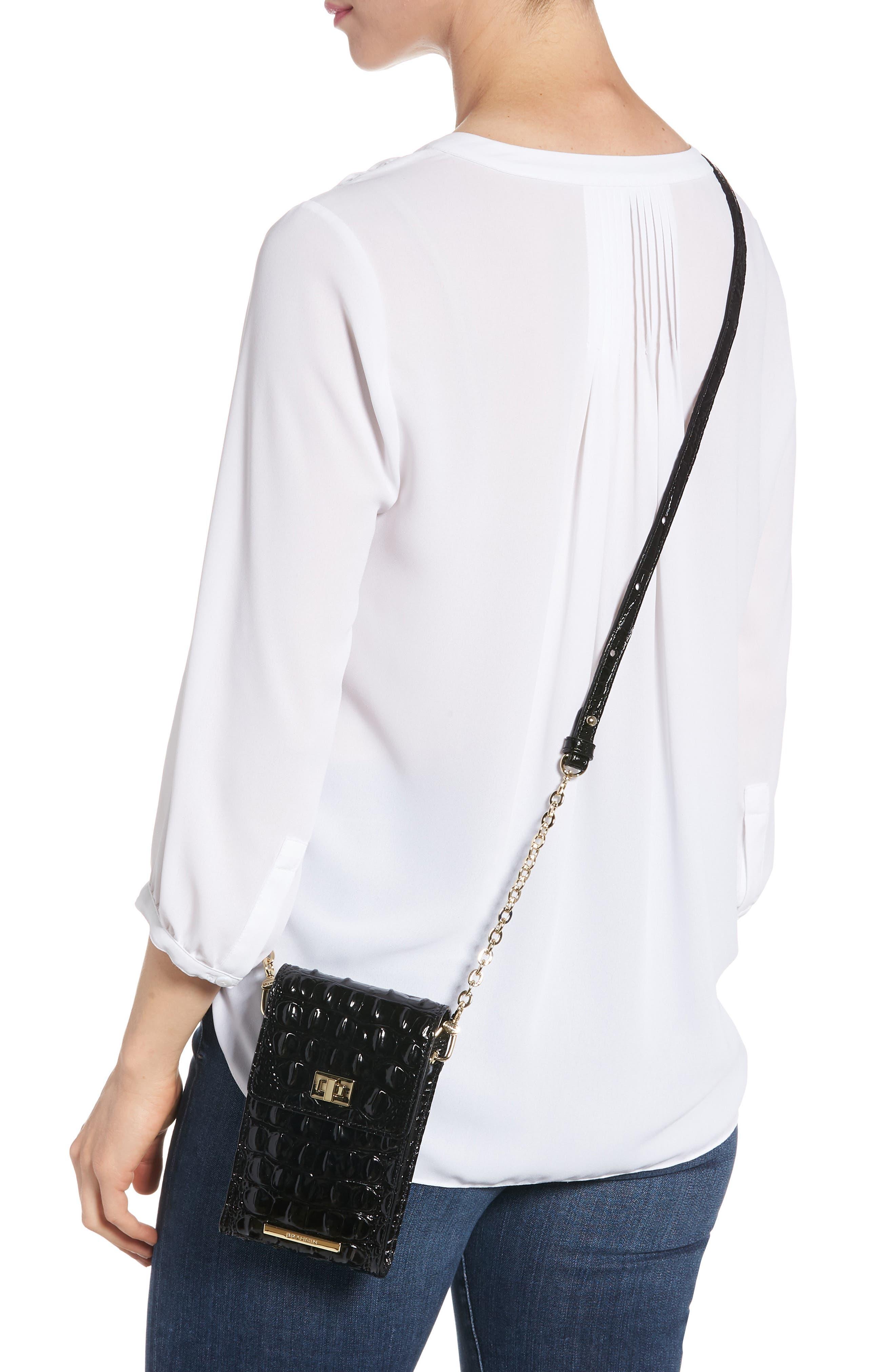 Madison Leather Smartphone Crossbody Bag,                             Alternate thumbnail 2, color,                             BLACK
