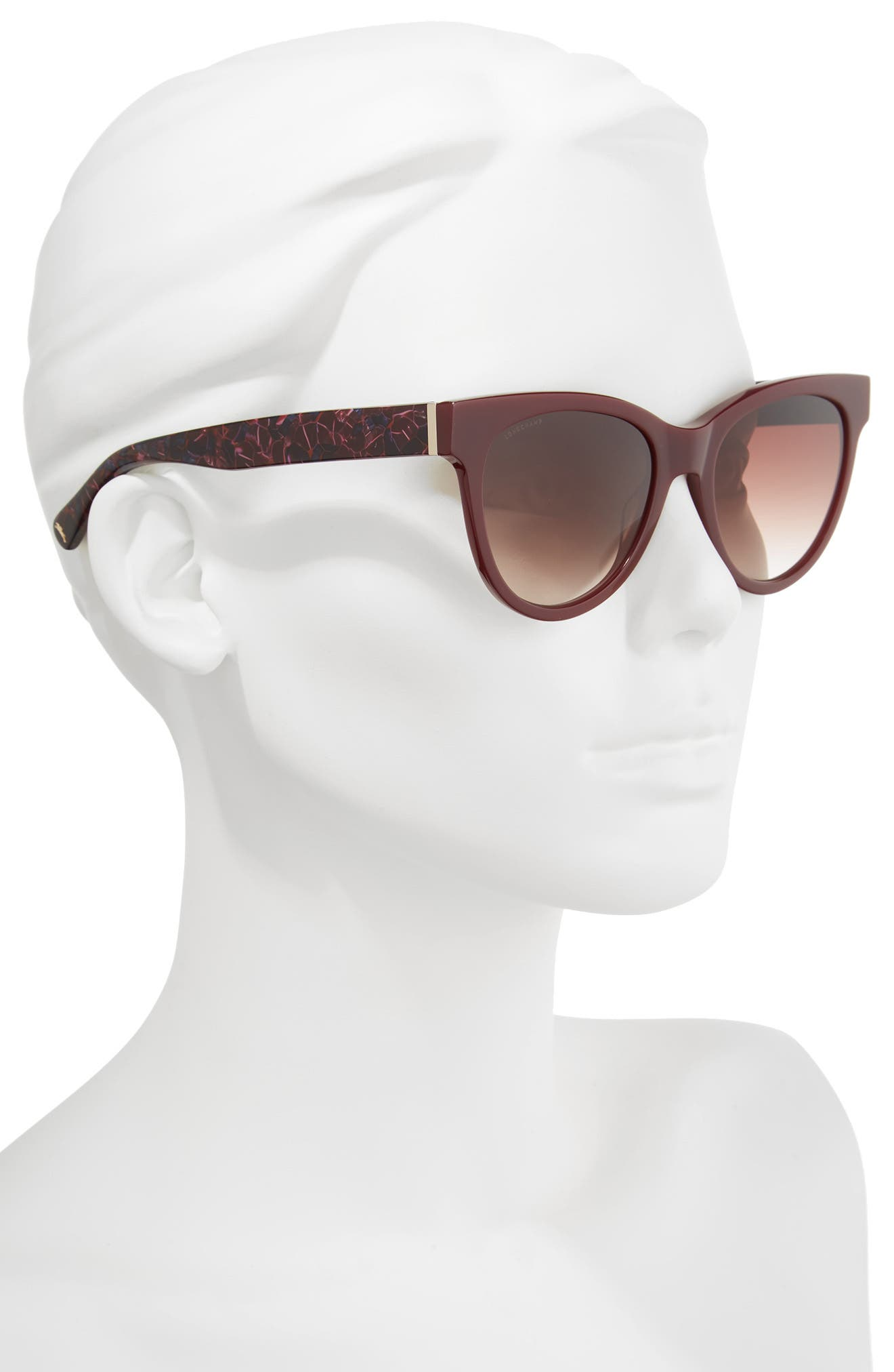 54mm Gradient Lens Cat Eye Sunglasses,                             Alternate thumbnail 2, color,                             WINE