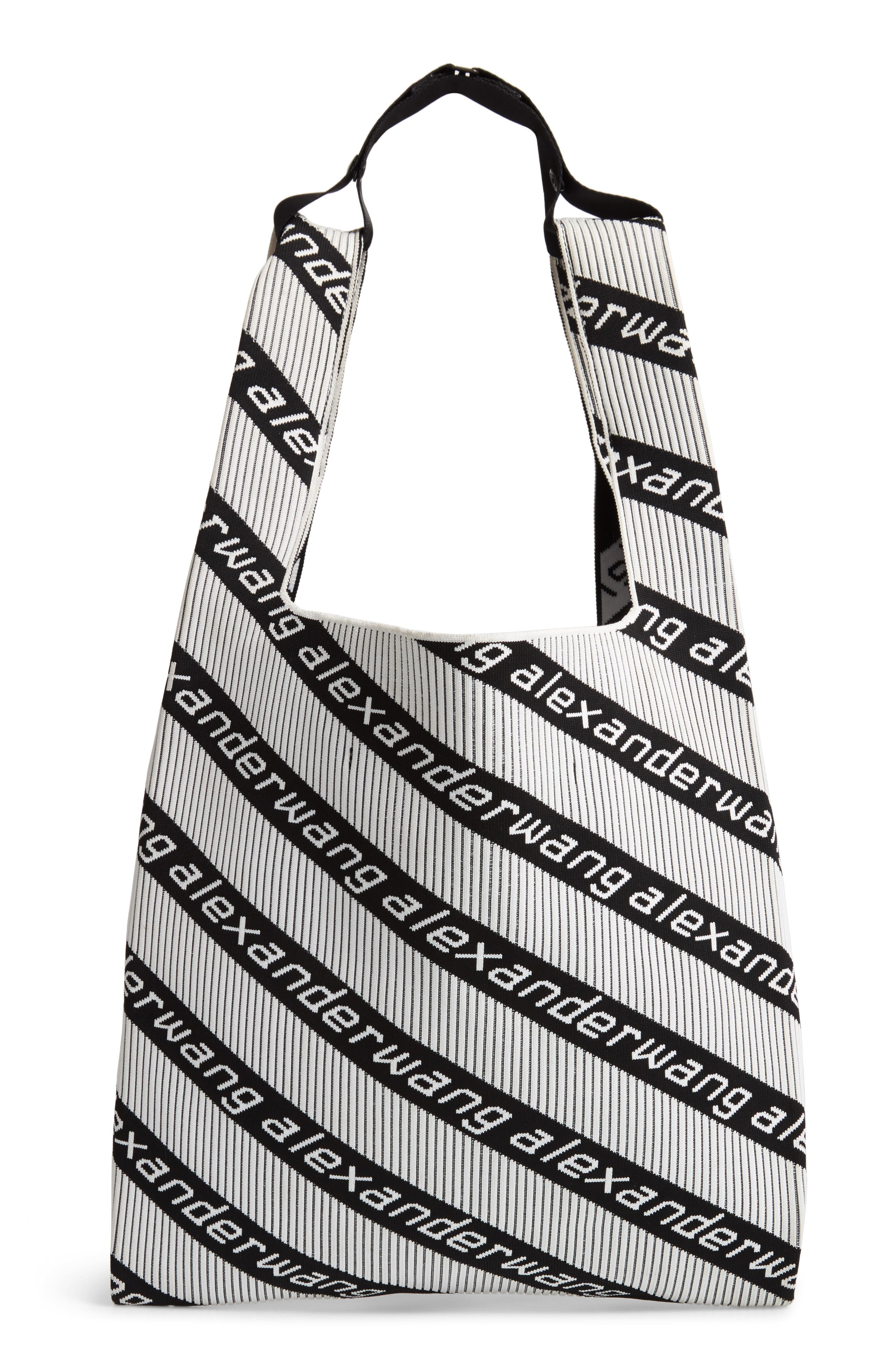 Logo Knit Jacquard Shopper,                             Alternate thumbnail 3, color,                             BLACK/ WHITE