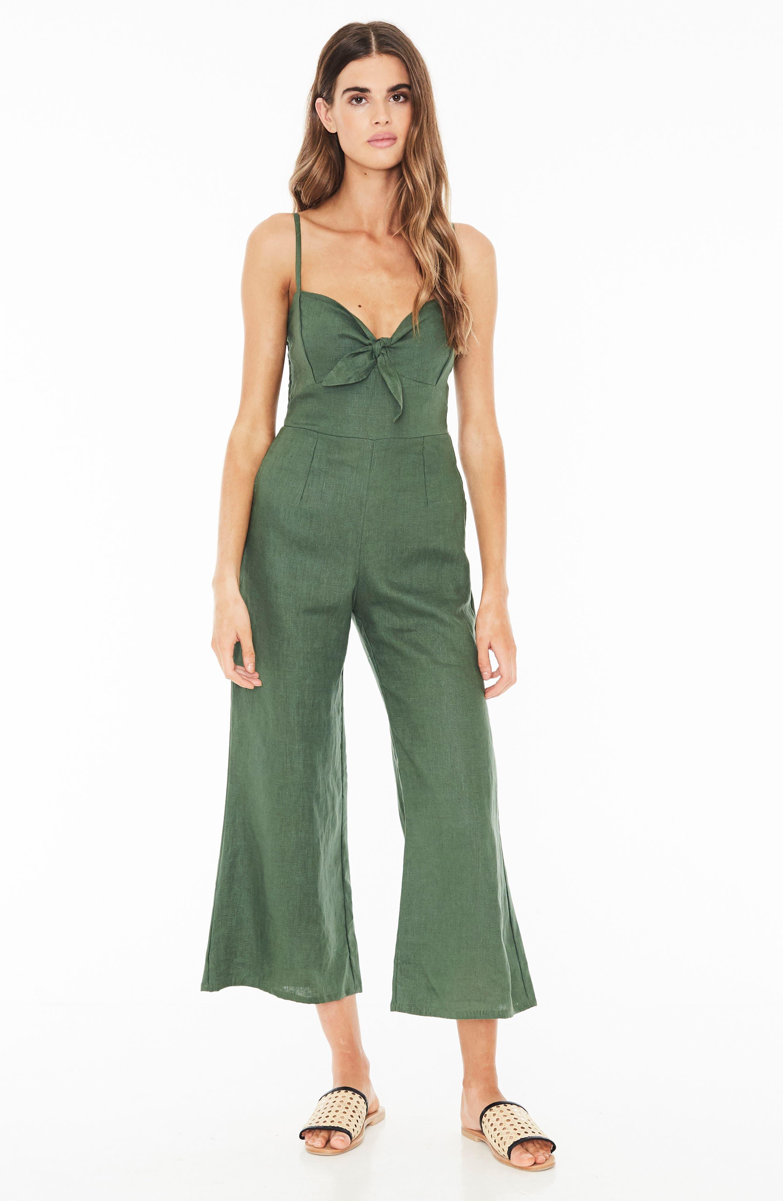 Presley Linen Jumpsuit,                             Alternate thumbnail 5, color,                             PLAIN MOSS GREEN