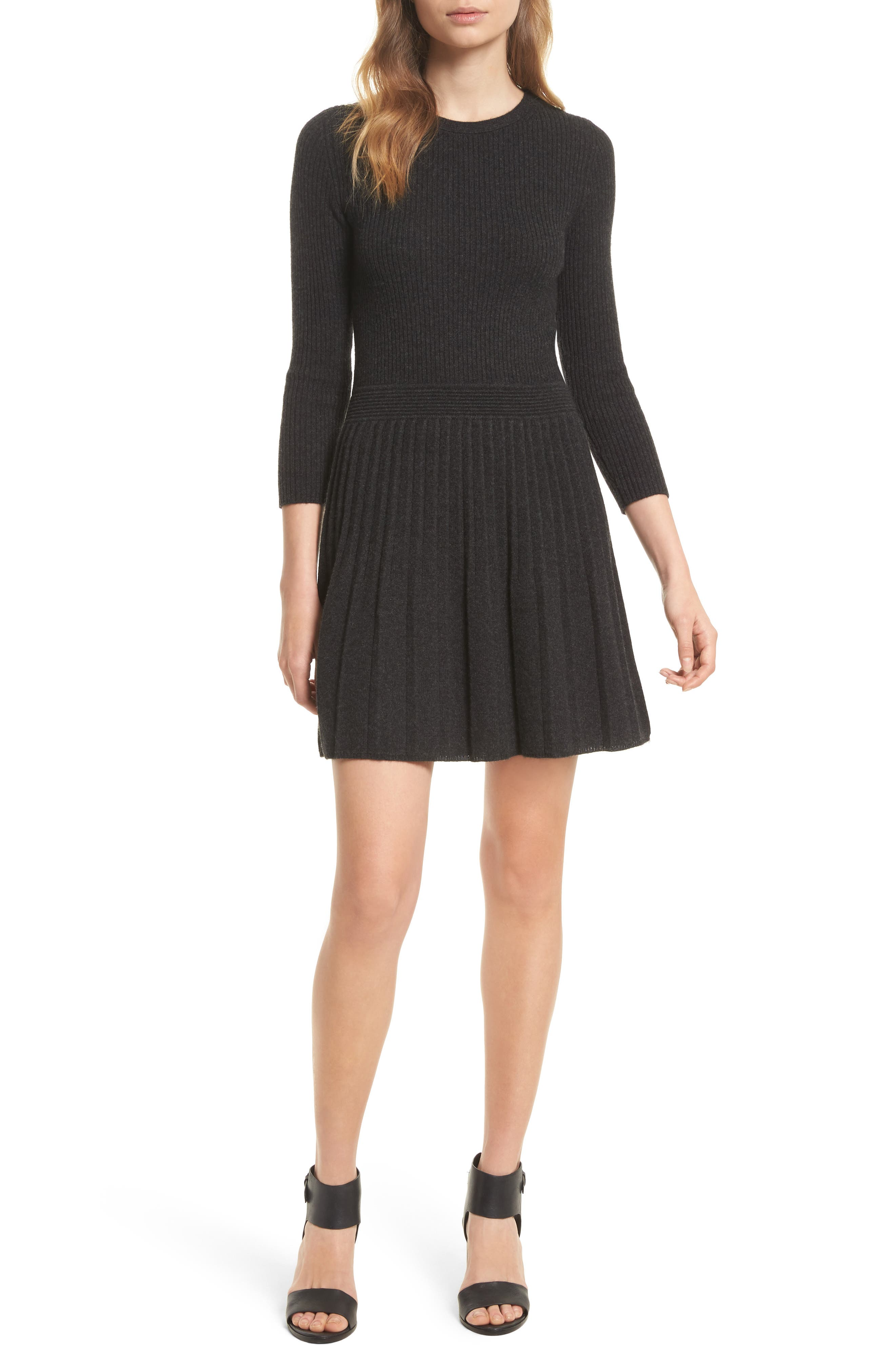 Peronne B Knit Wool & Cashmere Fit & Flare Dress,                             Main thumbnail 1, color,                             071