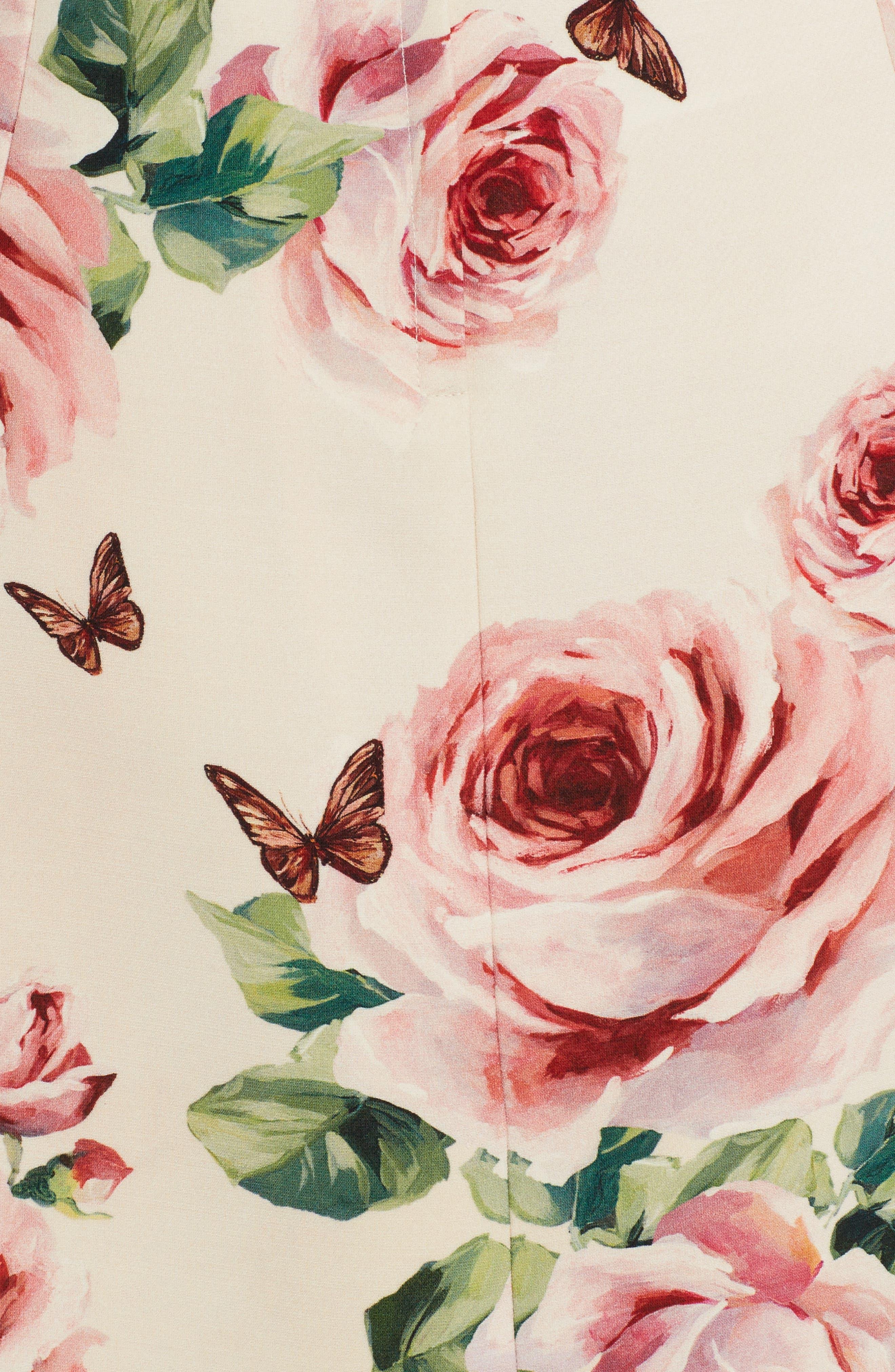 Rose Print Wool & Silk Shift Dress,                             Alternate thumbnail 5, color,                             680