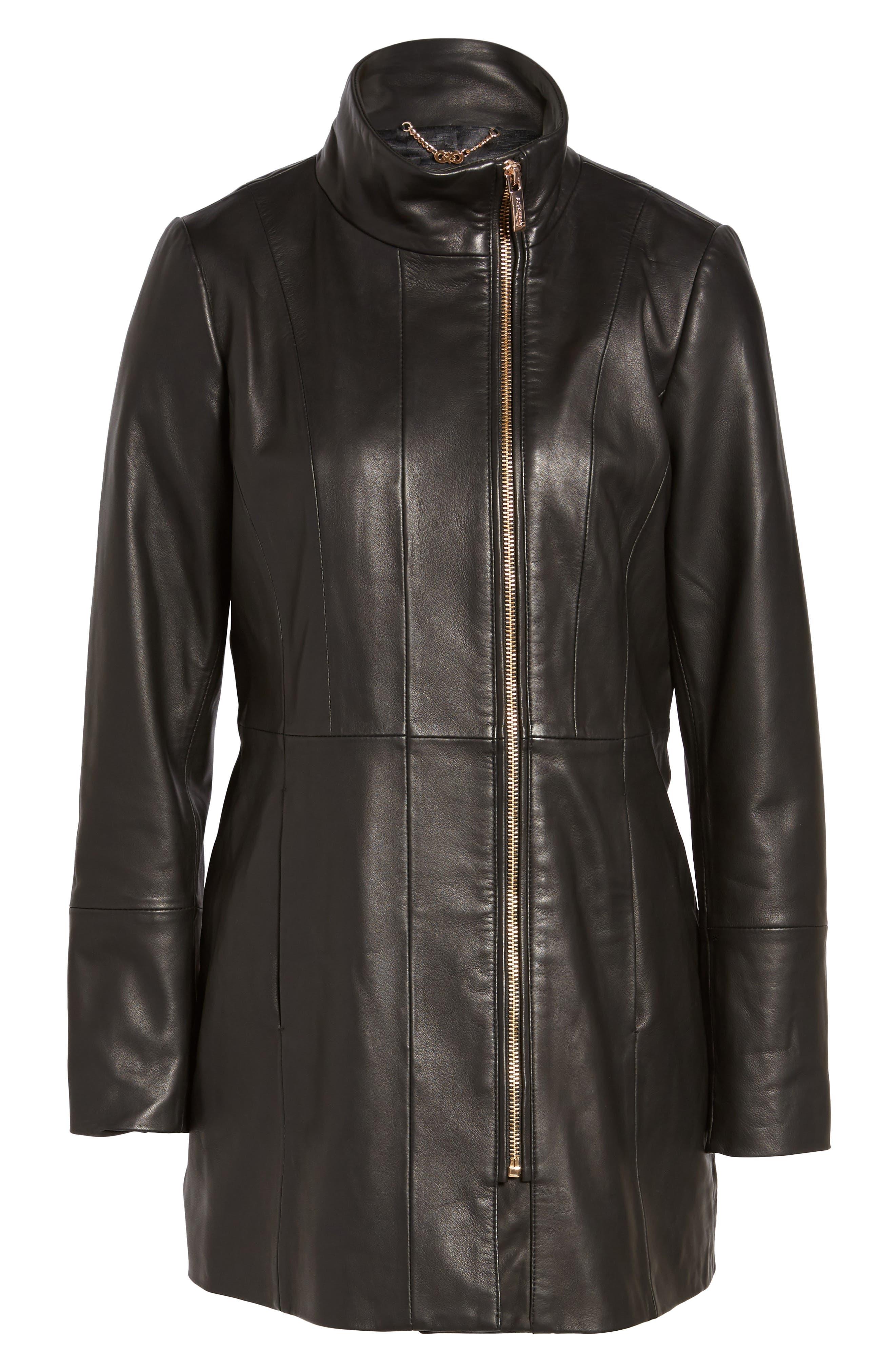 Leather Car Coat,                             Alternate thumbnail 5, color,                             001