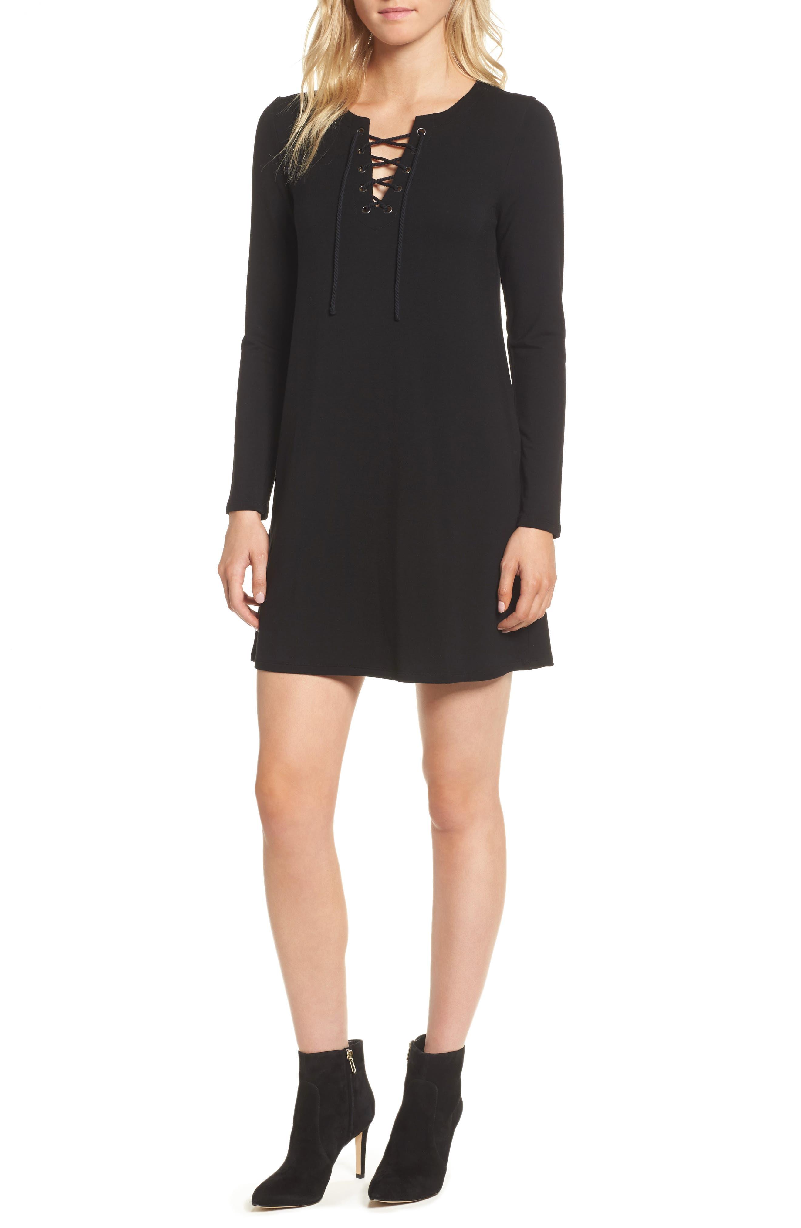 Celerina Lace-Up Minidress,                         Main,                         color, 001