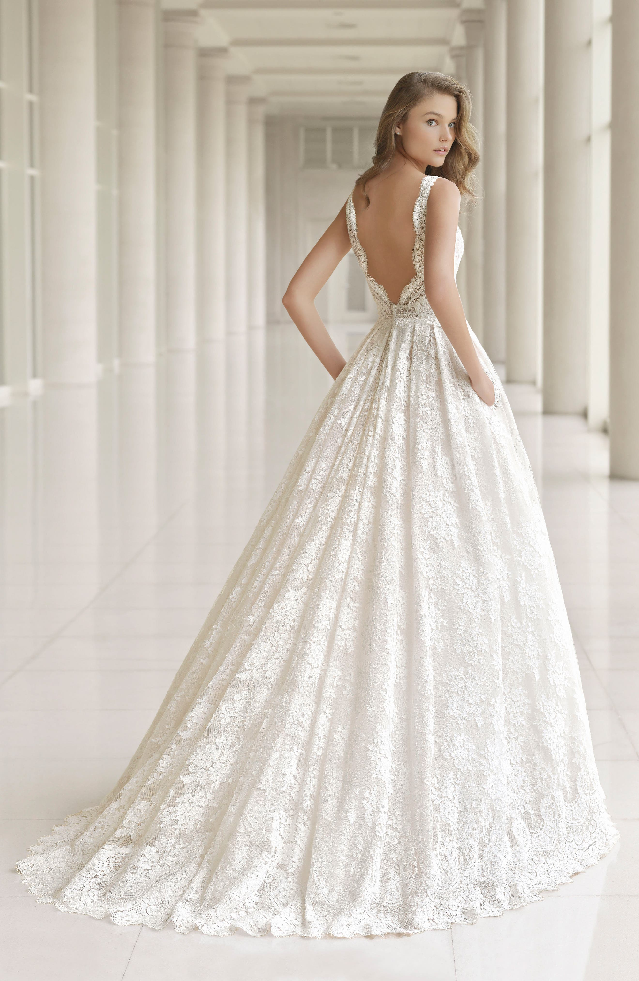 Rosa Clará Couture Embellished Lace Princess Gown,                             Alternate thumbnail 2, color,                             NATURAL/NUDE