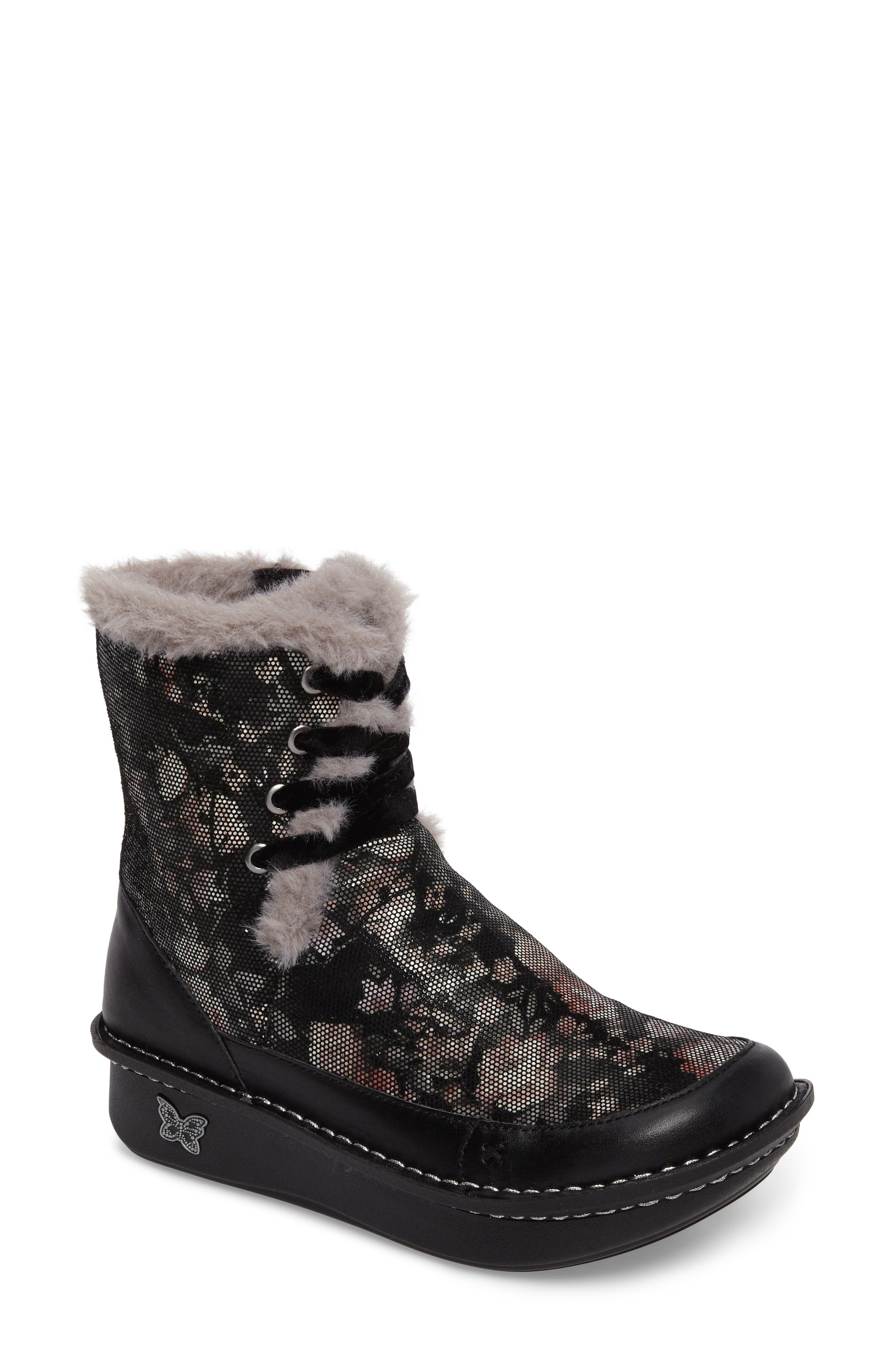 Twisp Lace-Up Boot with Faux Fur Lining,                         Main,                         color, 001