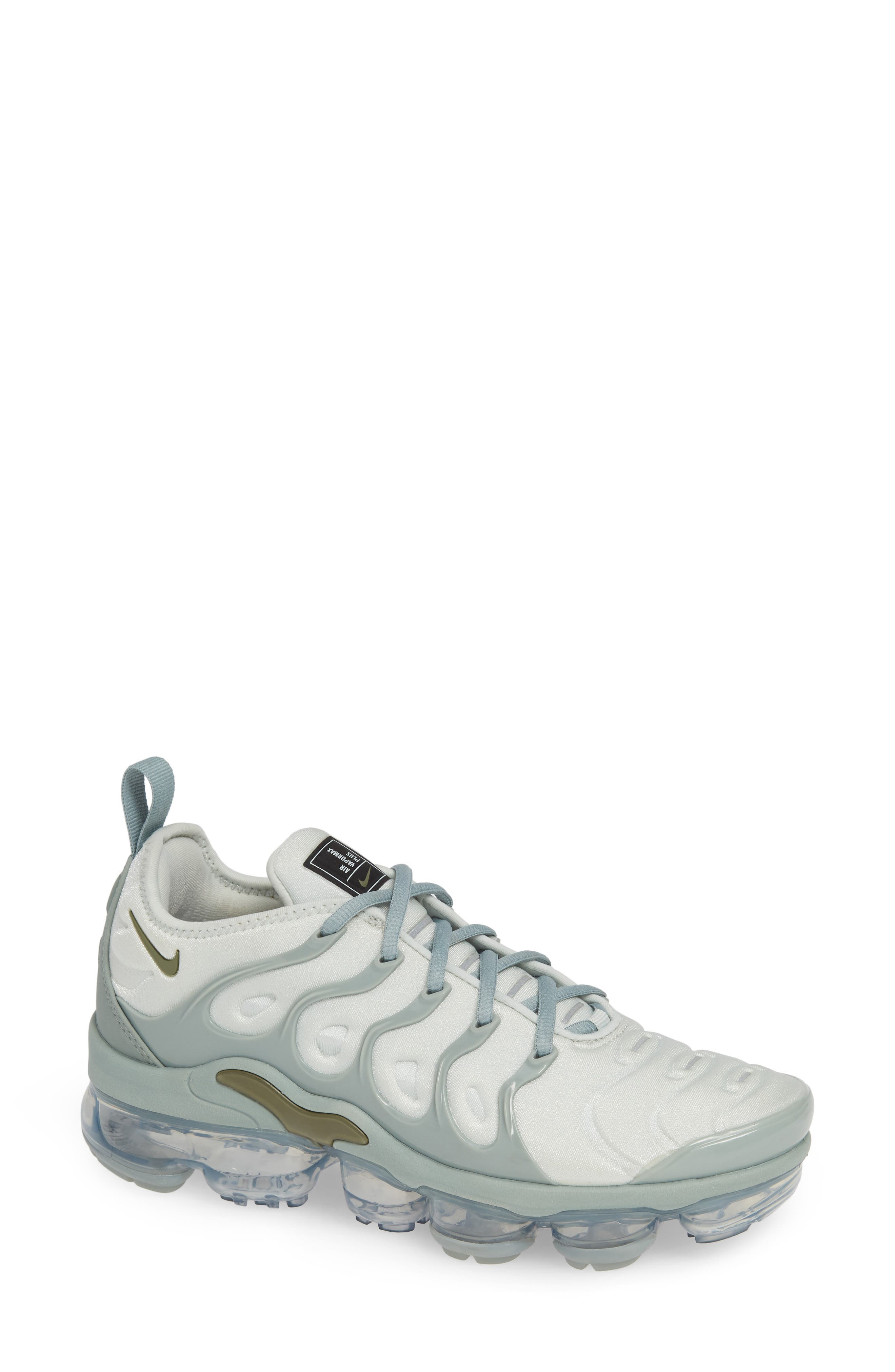 Air VaporMax Plus Sneaker,                             Main thumbnail 1, color,                             LIGHT SILVER/ OLIVE- GREEN