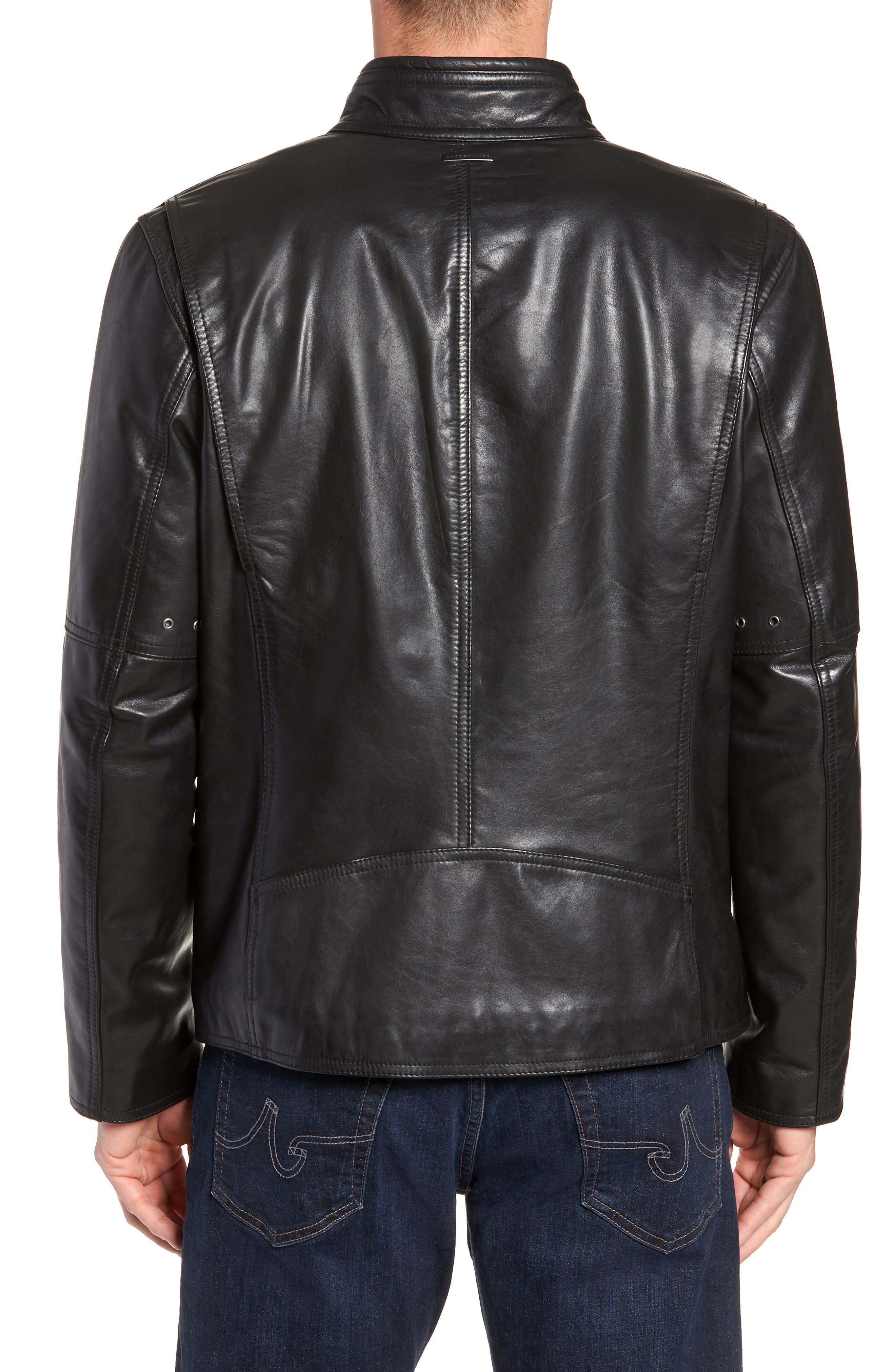 Emerson Lightweight Leather Moto Jacket,                             Alternate thumbnail 2, color,                             BLACK
