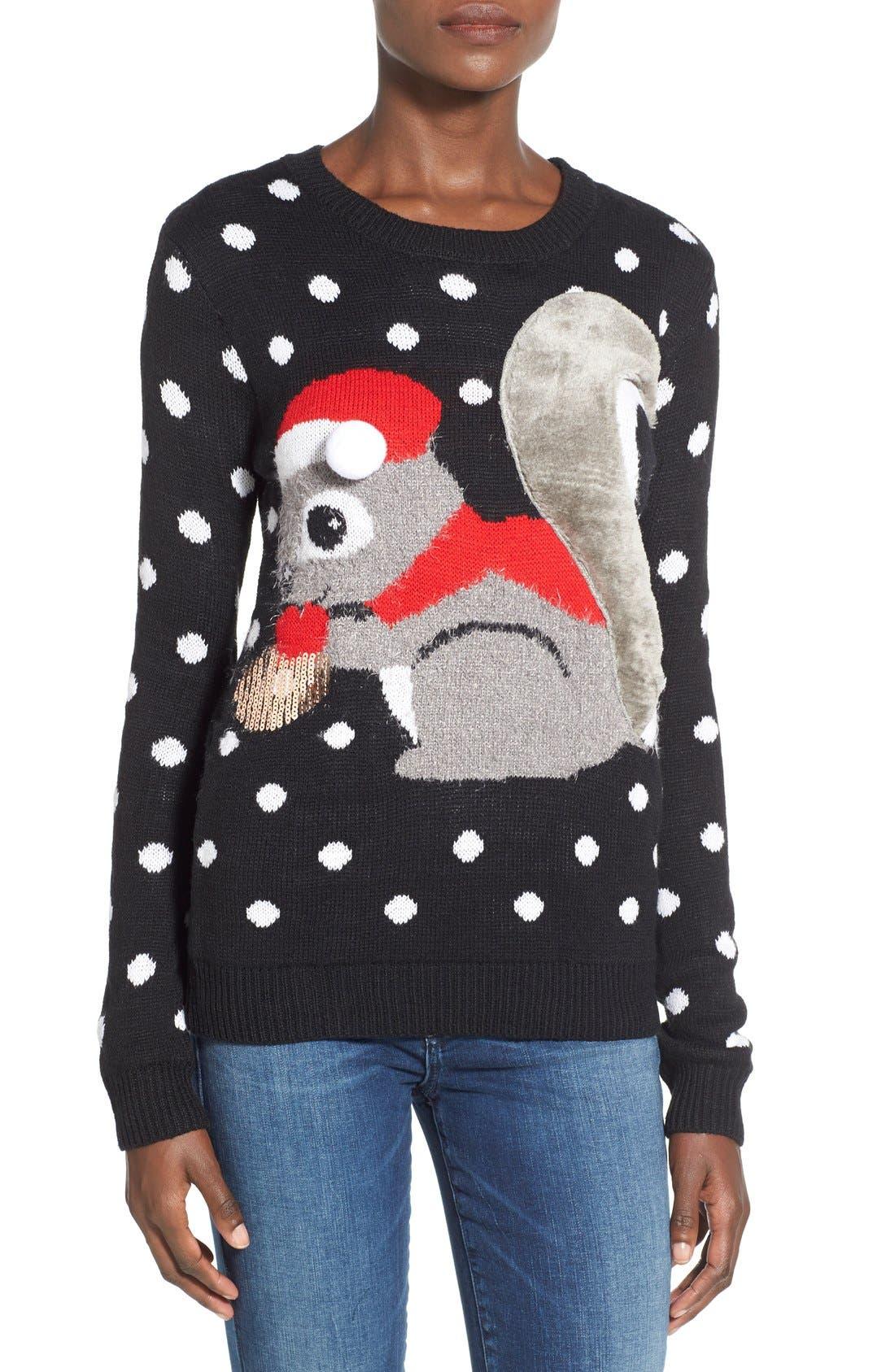 TEN SIXTY SHERMAN Squirrel Christmas Sweater, Main, color, 001