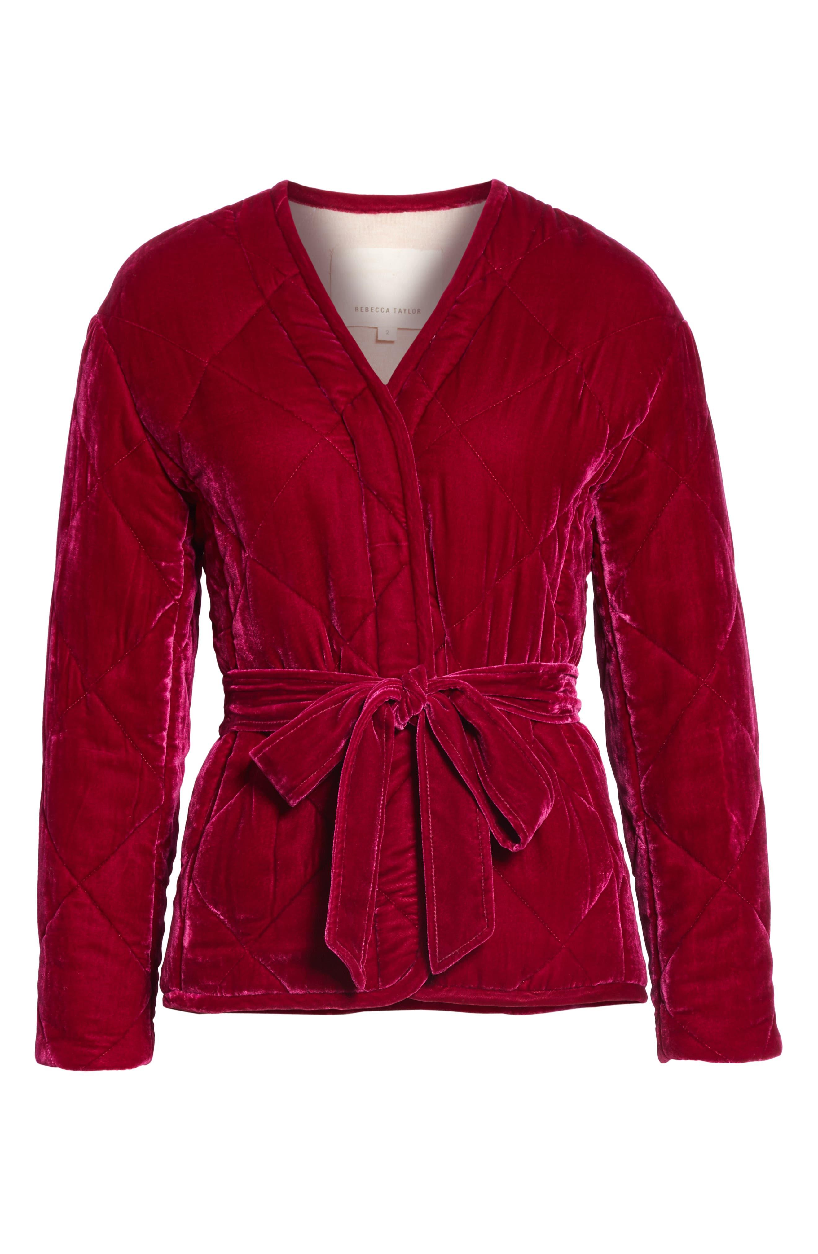 Quilted Velvet Jacket,                             Alternate thumbnail 6, color,                             CRANBERRY