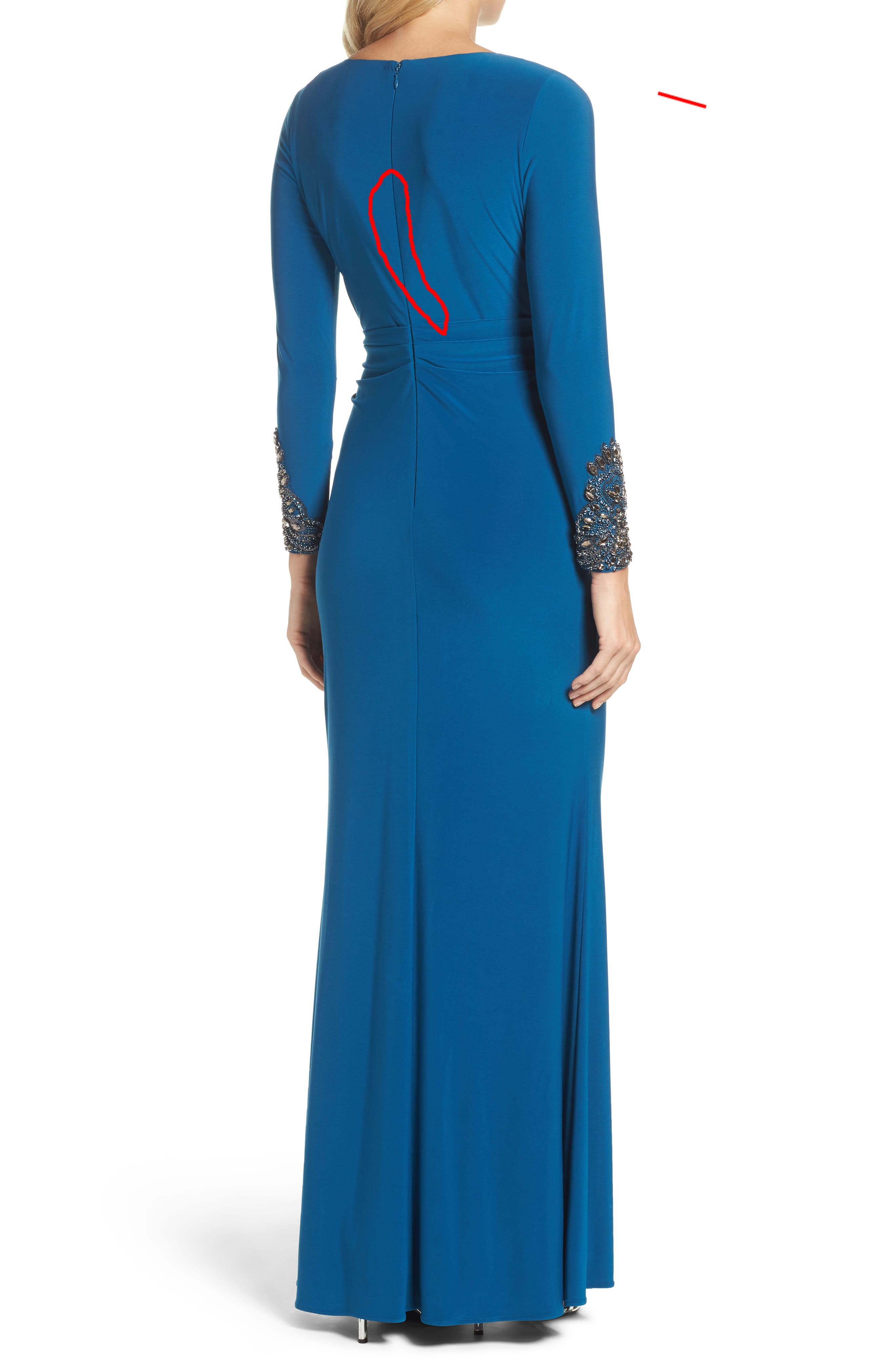 Embellished Sleeve Drape Gown,                             Alternate thumbnail 2, color,                             471