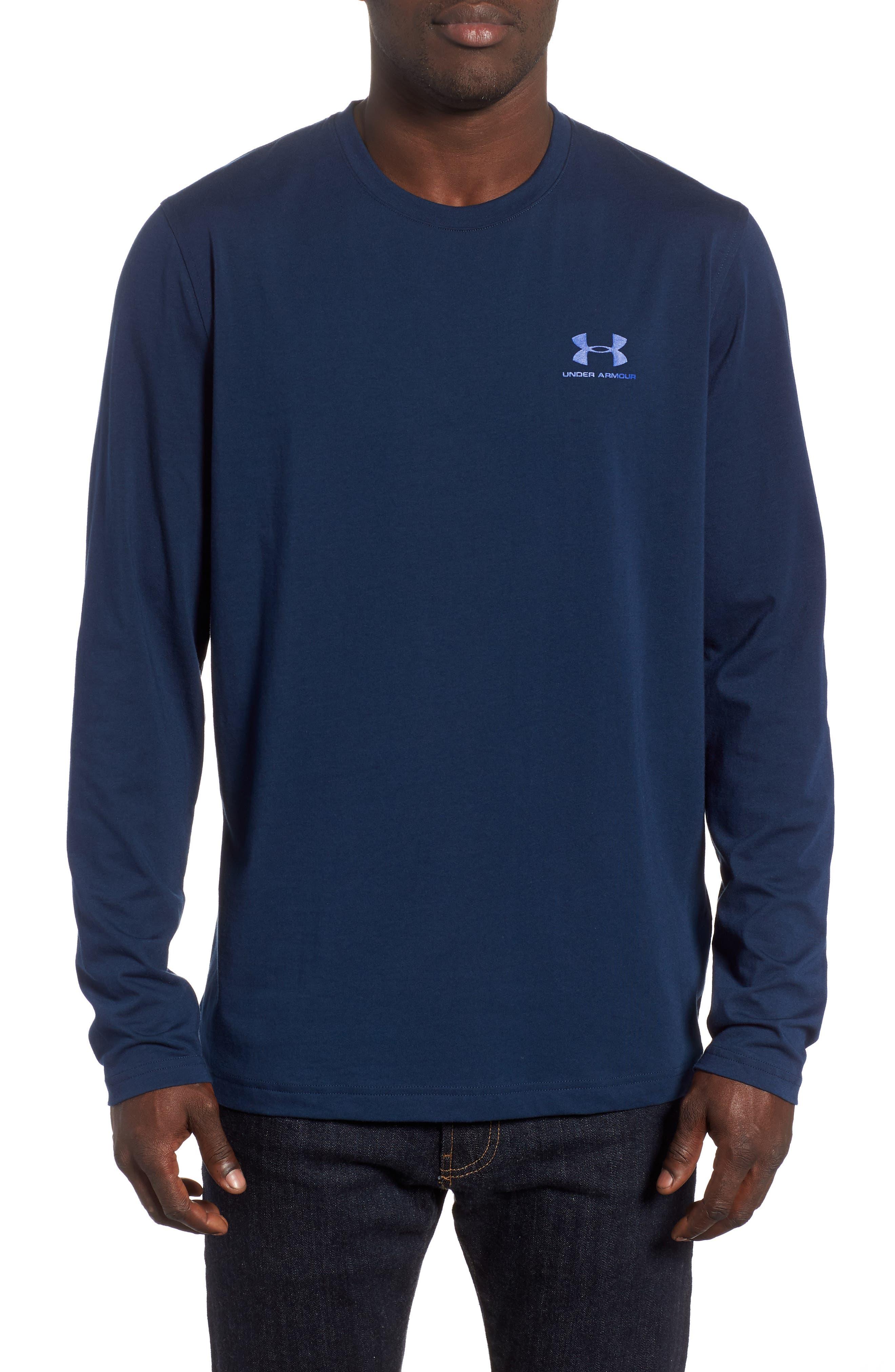 HeatGear<sup>®</sup> Long Sleeve Performance T-Shirt,                             Main thumbnail 1, color,                             ACADEMY/ ROYAL