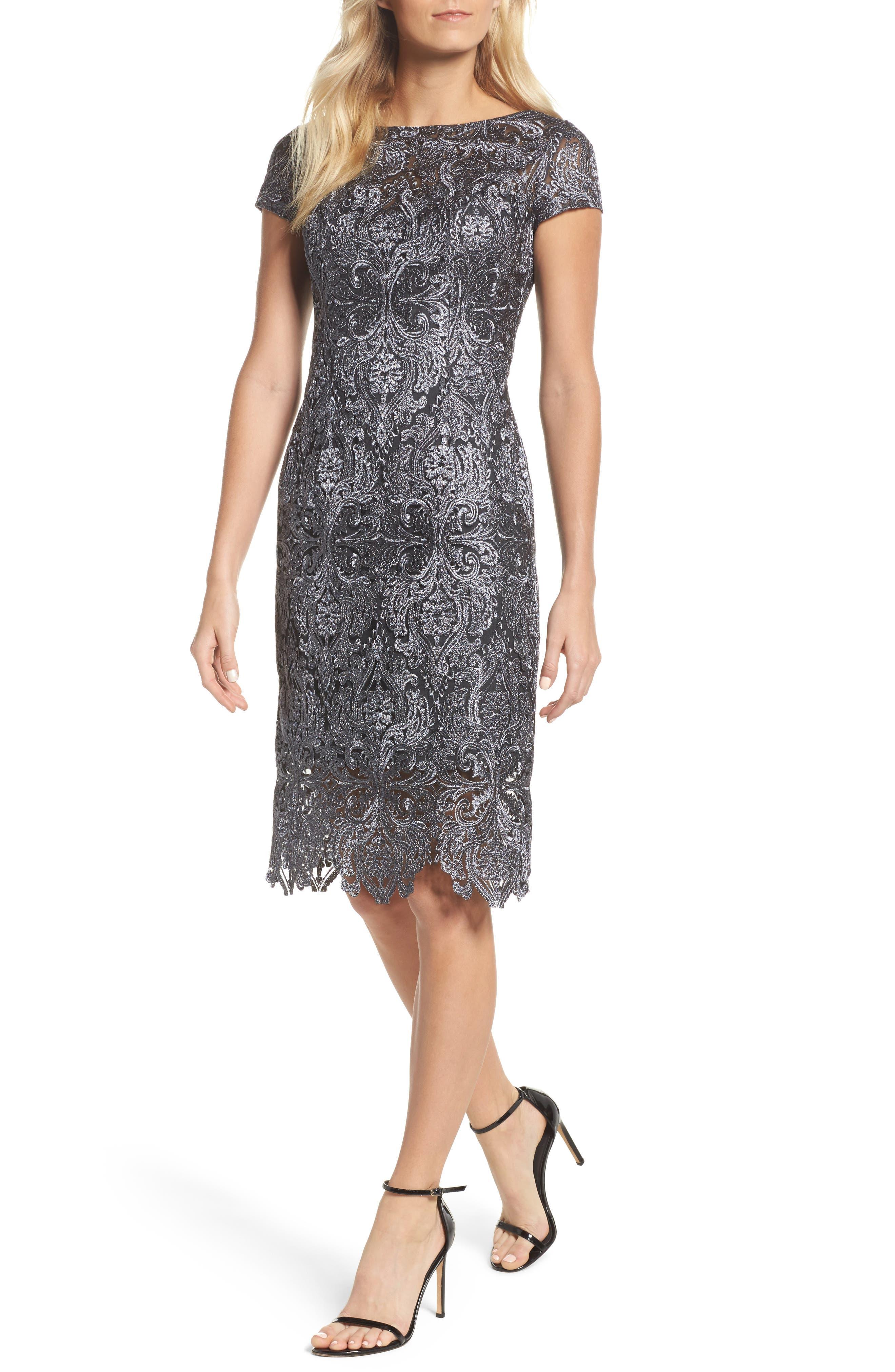 Lace Bateau Neck Dress,                             Main thumbnail 1, color,                             GUNMETAL