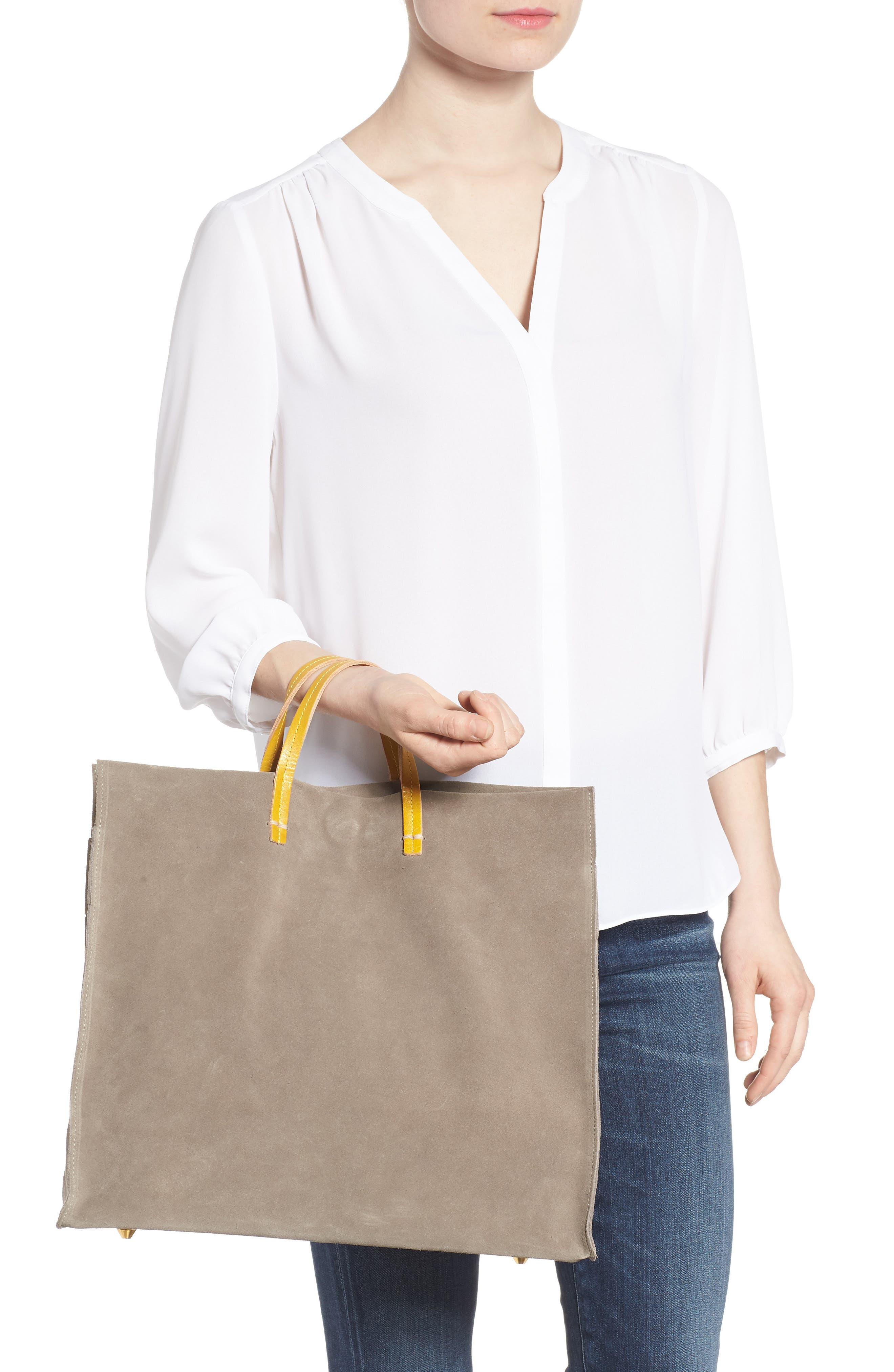 Simple Suede Tote,                             Alternate thumbnail 2, color,                             TAUPE/ YELLOW RUSTIC