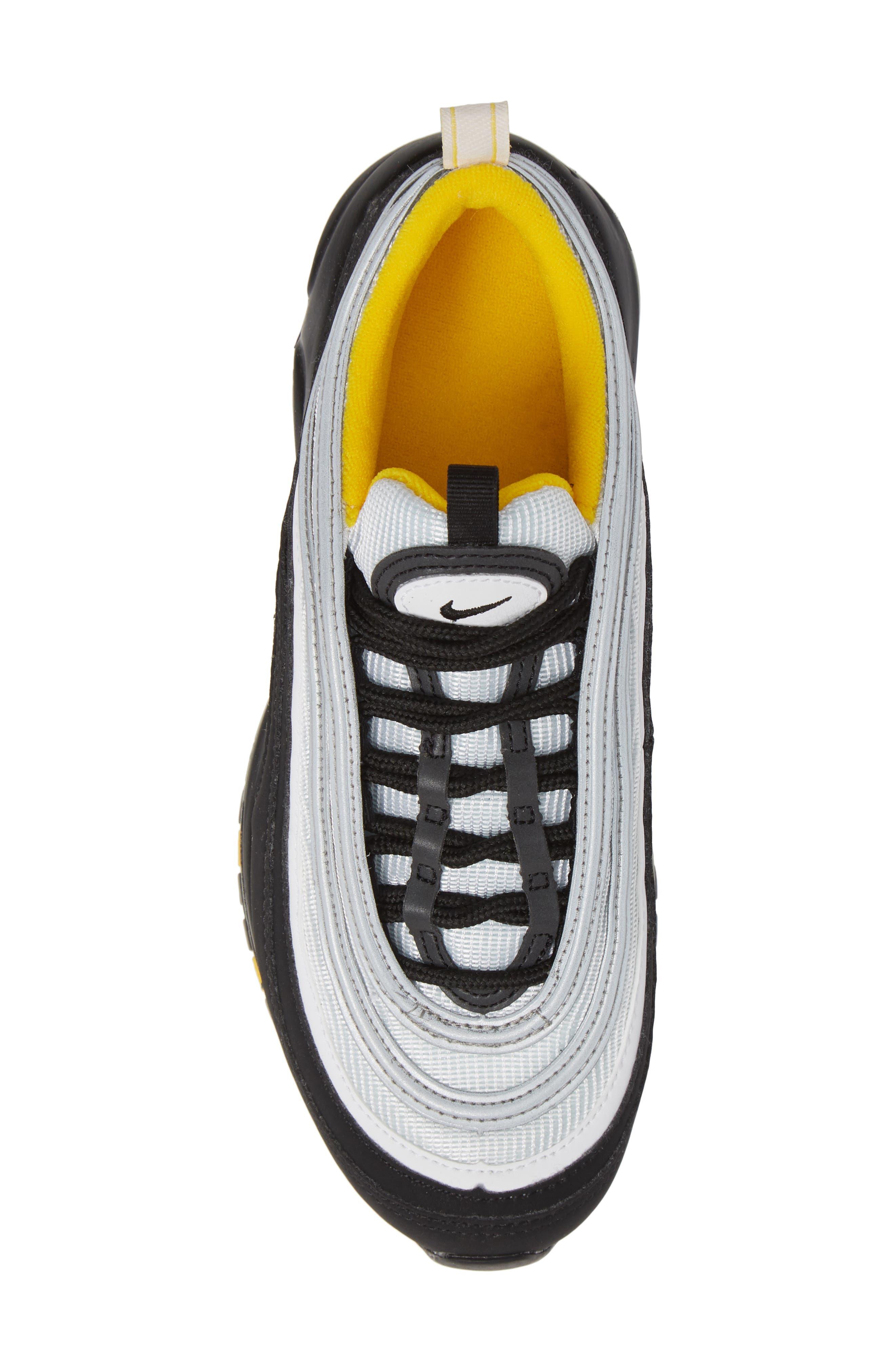 Air Max 97 Sneaker,                             Alternate thumbnail 5, color,                             BLACK/ WHITE/ AMARILLO
