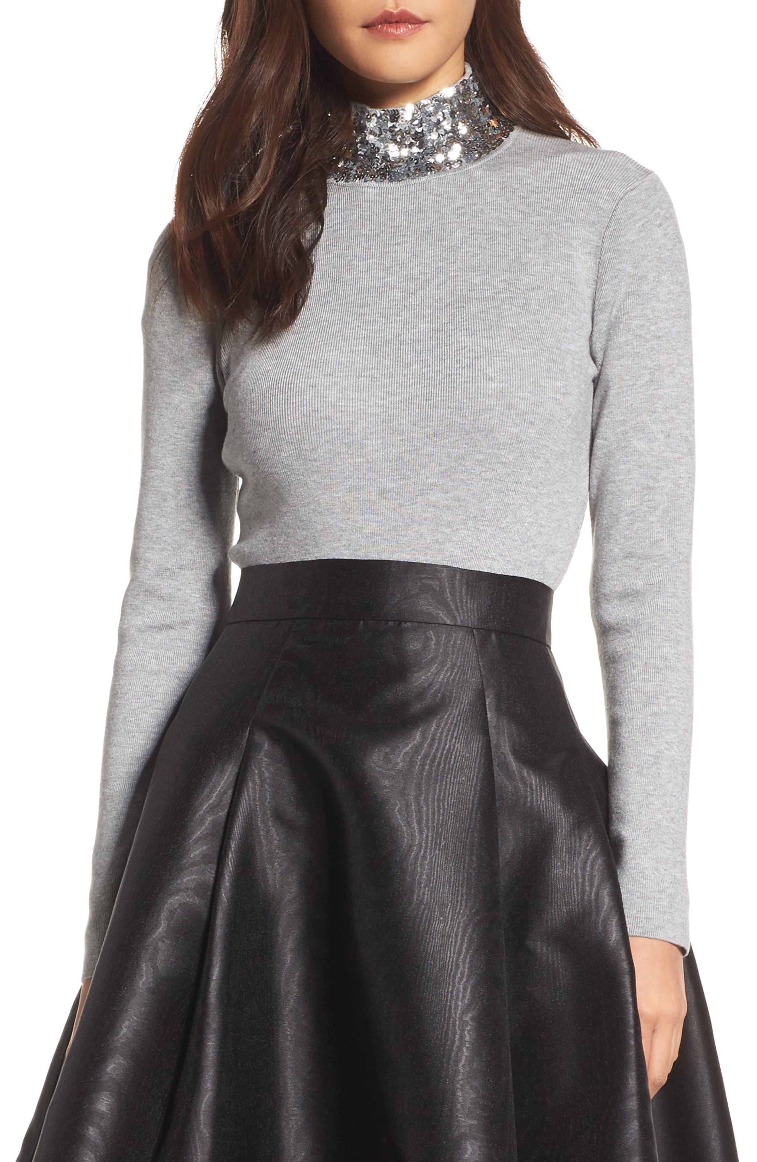 Sequin Mock Neck Sweater,                         Main,                         color, 030